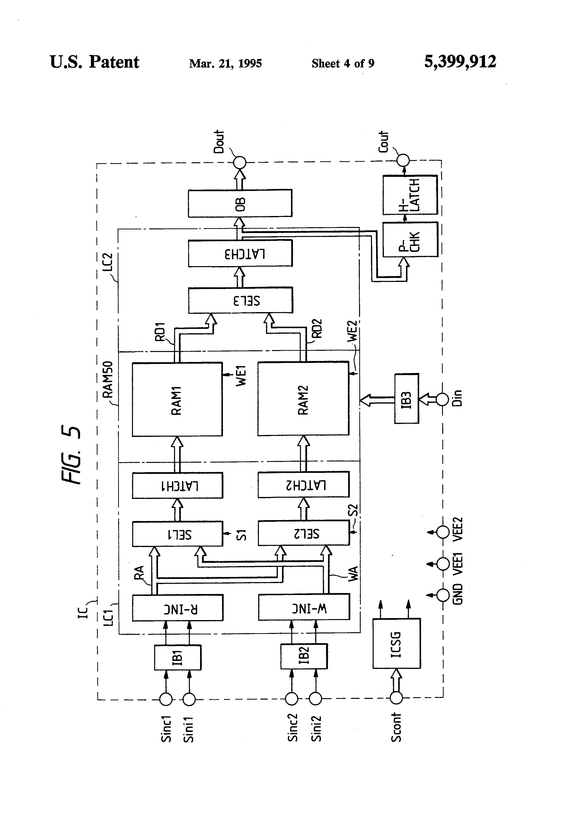 Patente Us5399912 Hold Type Latch Circuit With Increased Margin In Latching Diagram Patent Drawing