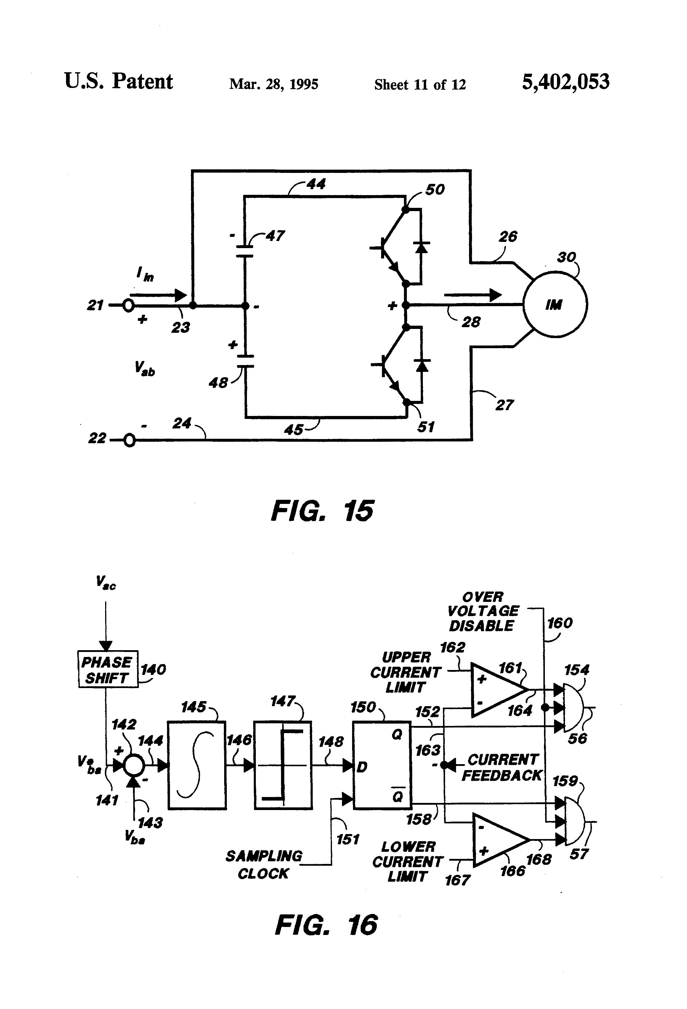Patent Us5402053 Single Phase To Three Phase Converter