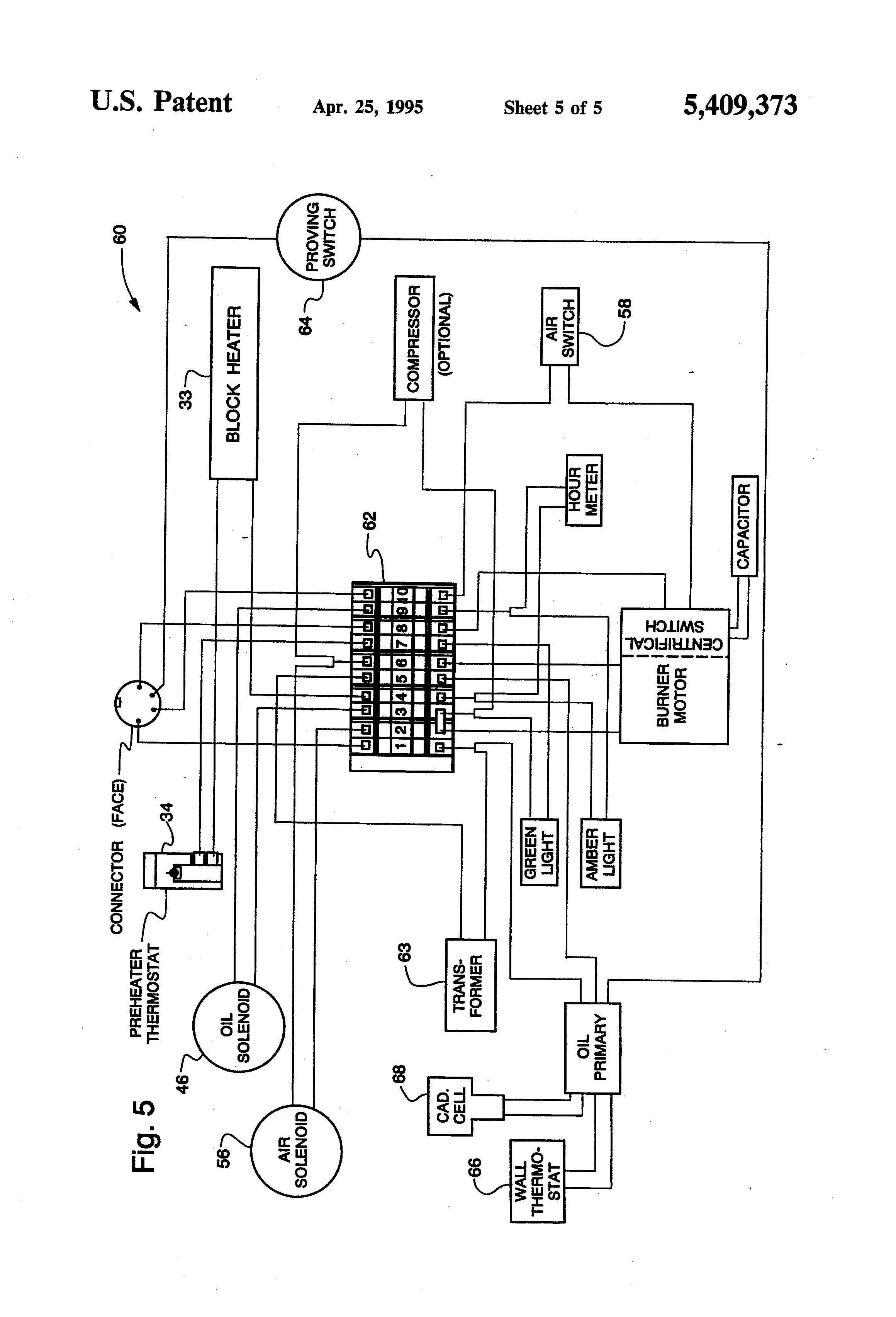 US5409373 5 reznor furnace wiring diagram reznor wiring schematic oil pump Reznor F100 Wiring Diagram at crackthecode.co