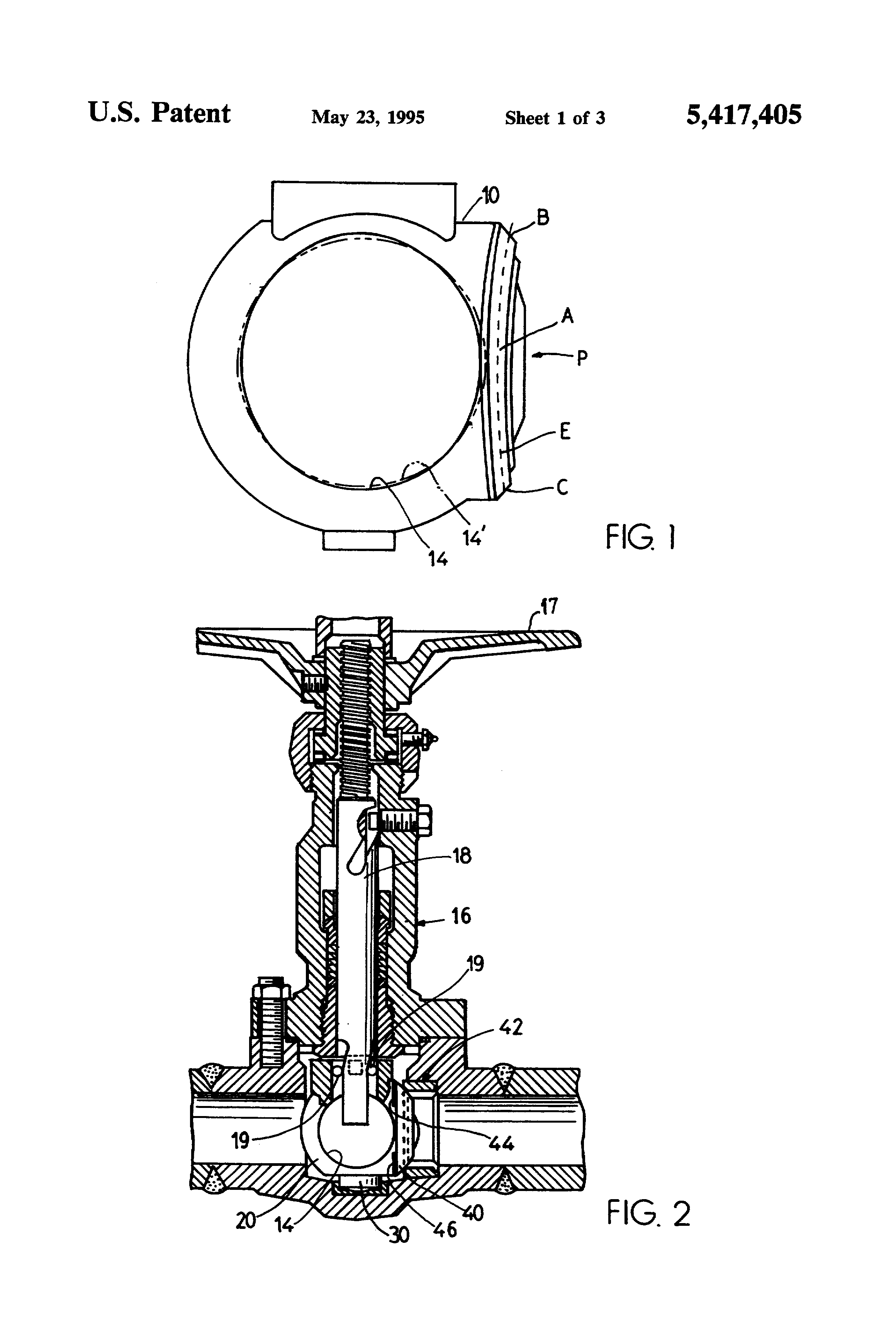 patent us5417405 - obturator for ball valve