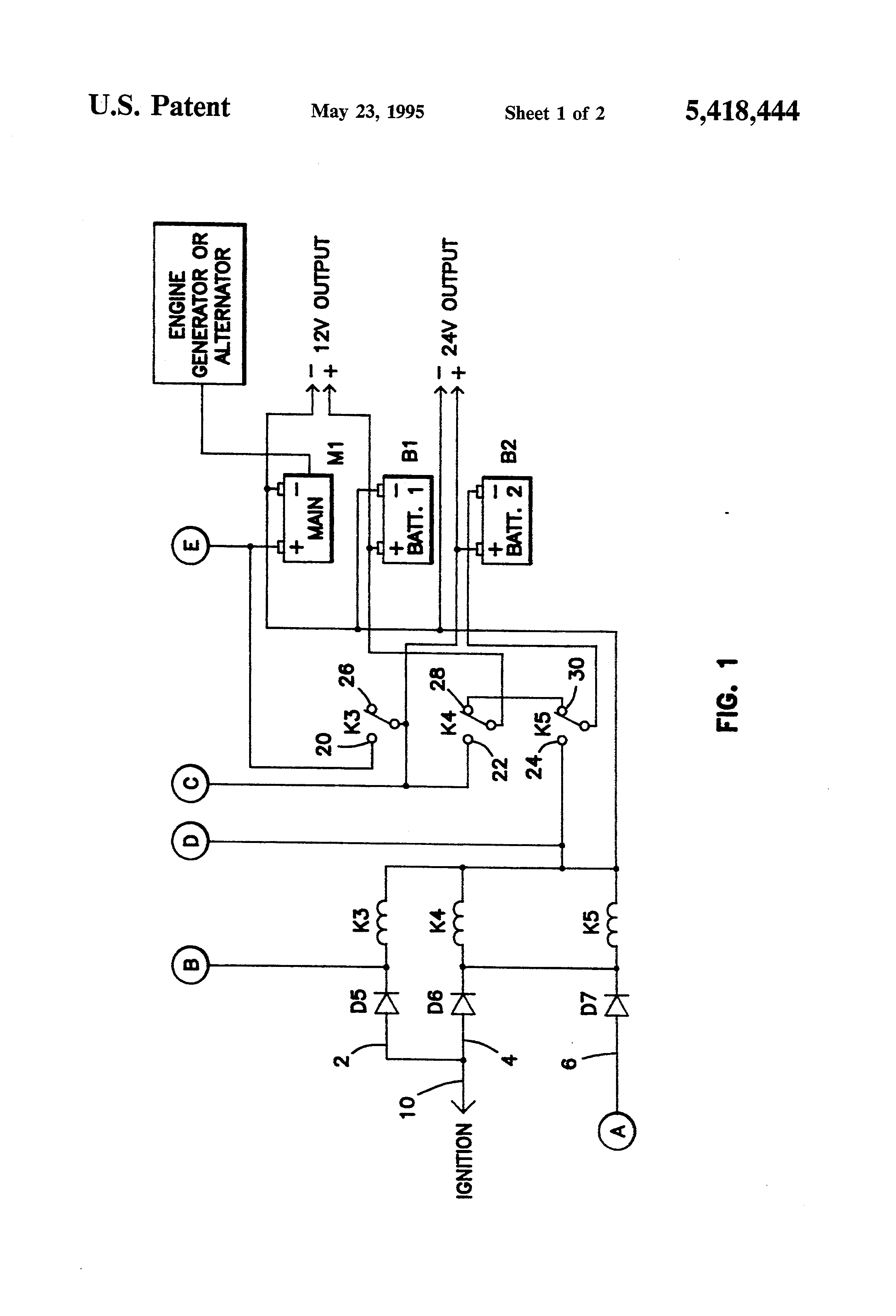 US5418444 1 patent us5418444 automatic battery charge and discharge control thermo king v500 max wiring diagram at gsmportal.co