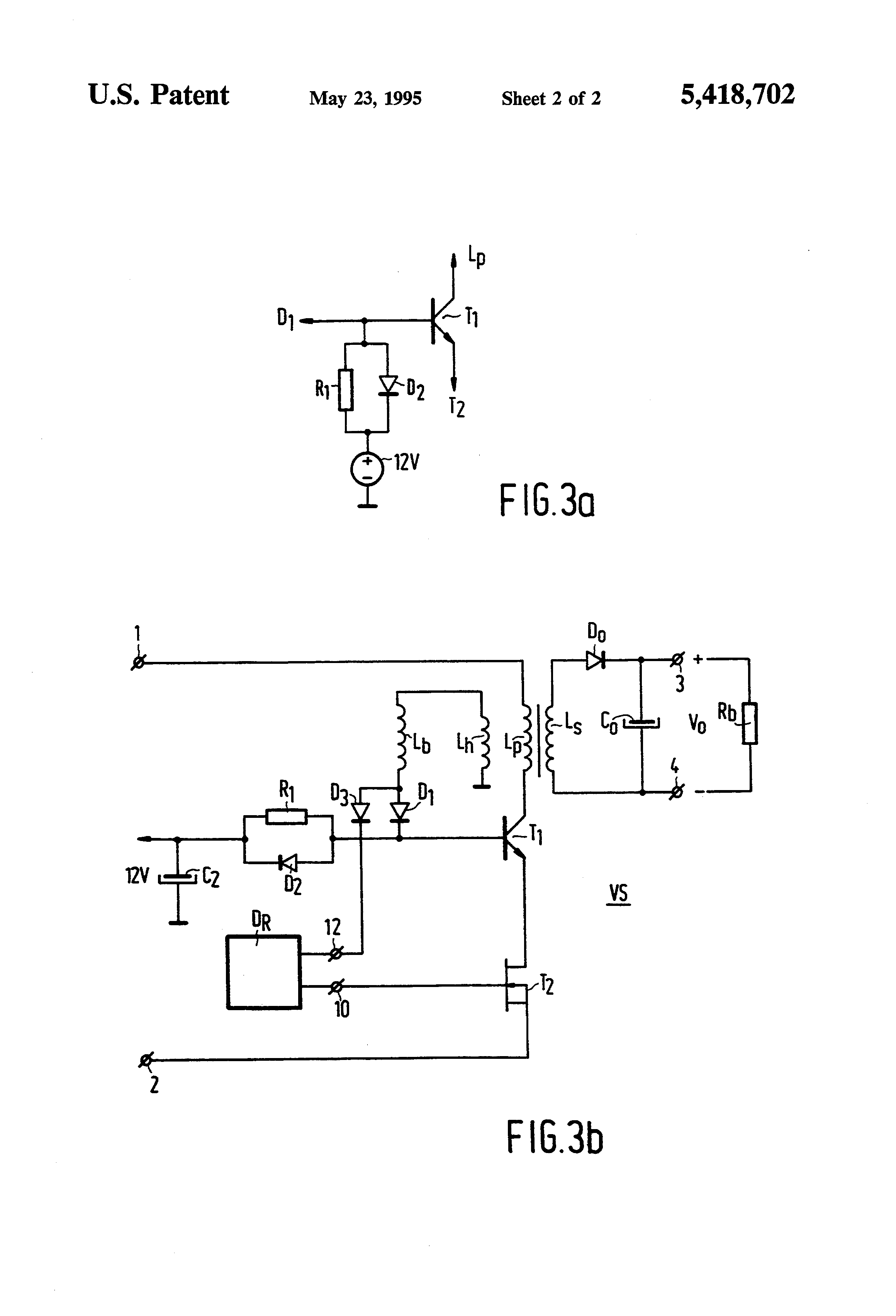 patent us5418702 - switch mode power supply with bjt  mosfet cascode circuit