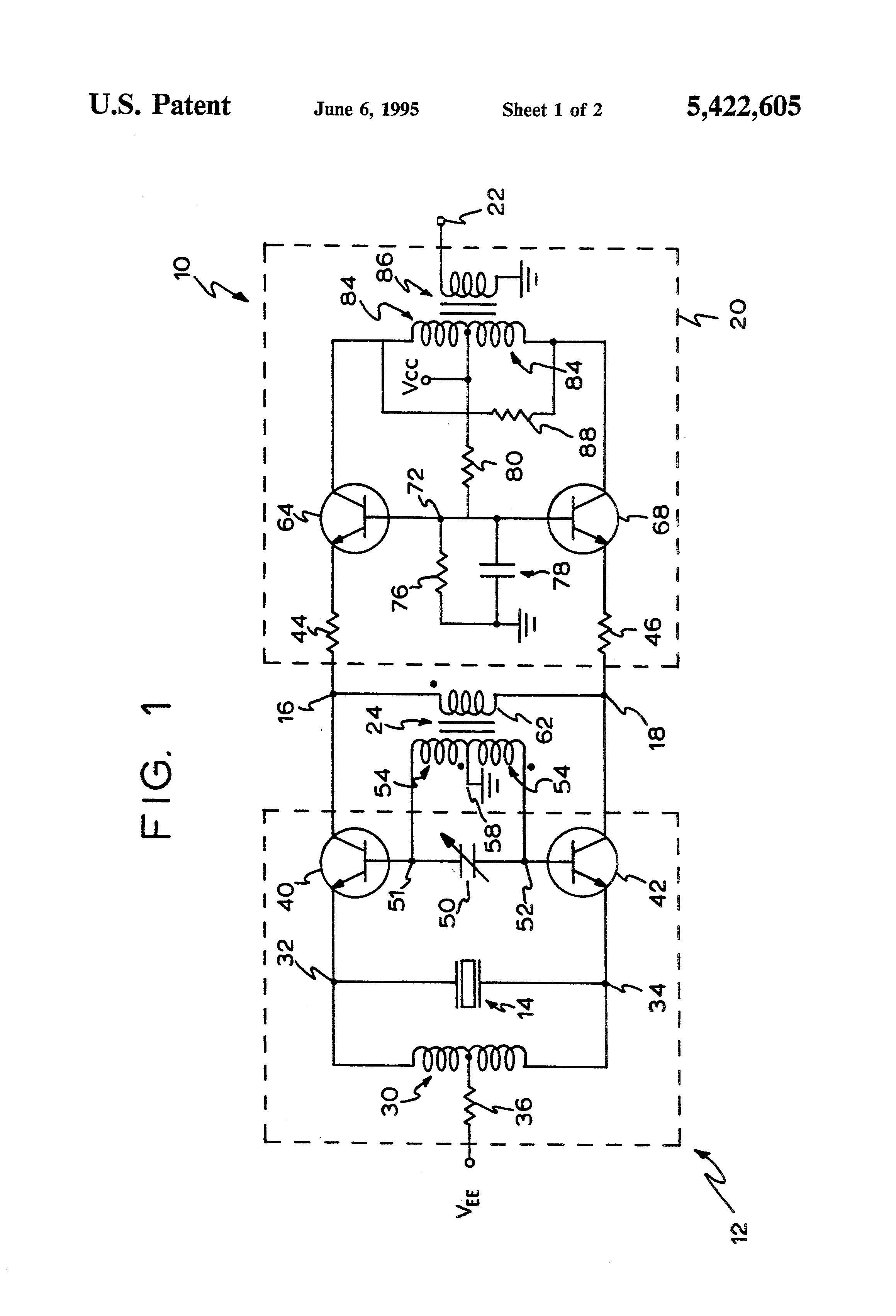 patent us5422605 - low-noise push-pull crystal oscillator