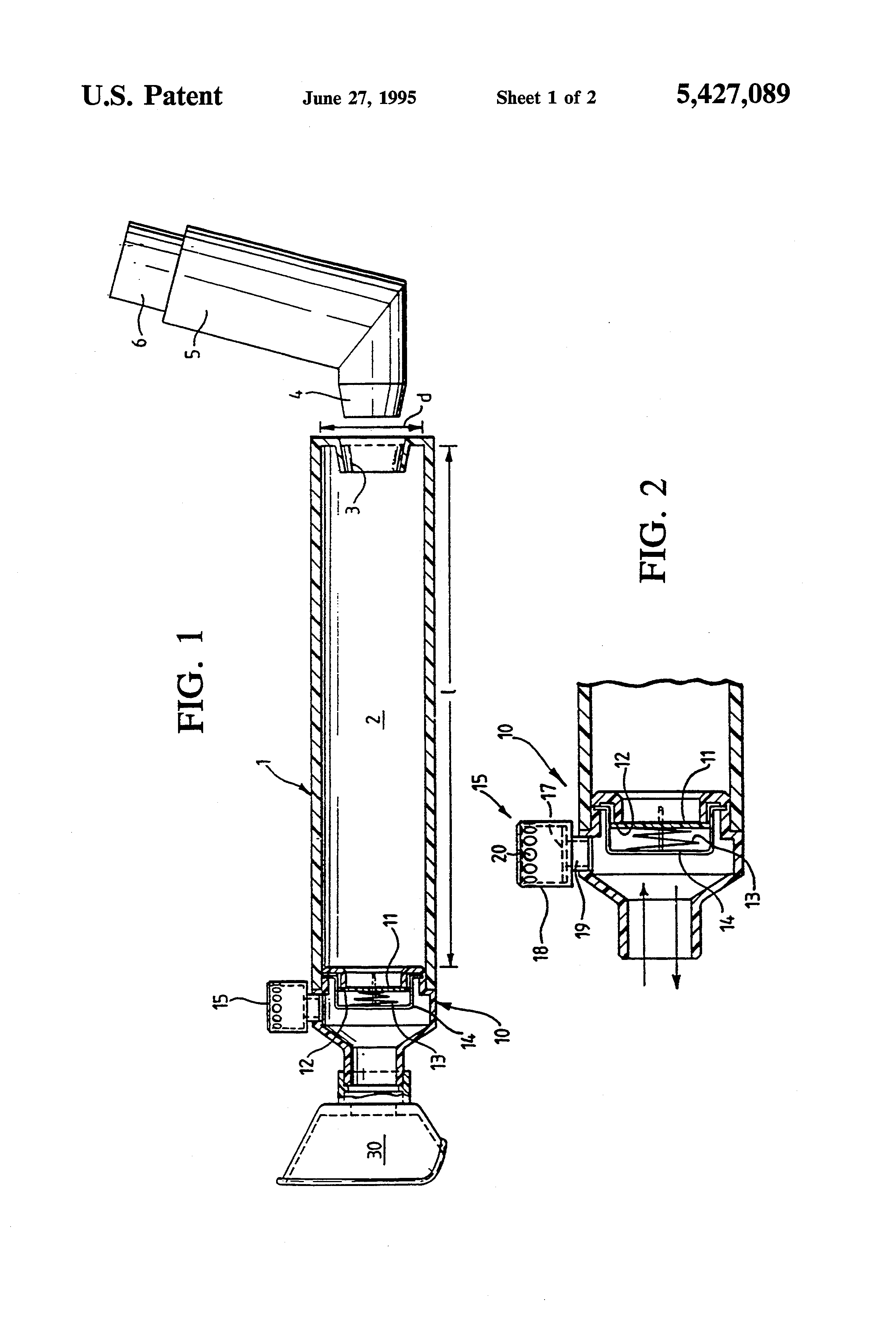 Patent Us5427089 Valved Auxiliary Device For Use With Aerosol Inhalation And Exhalation Diagram H Valve J Drawing