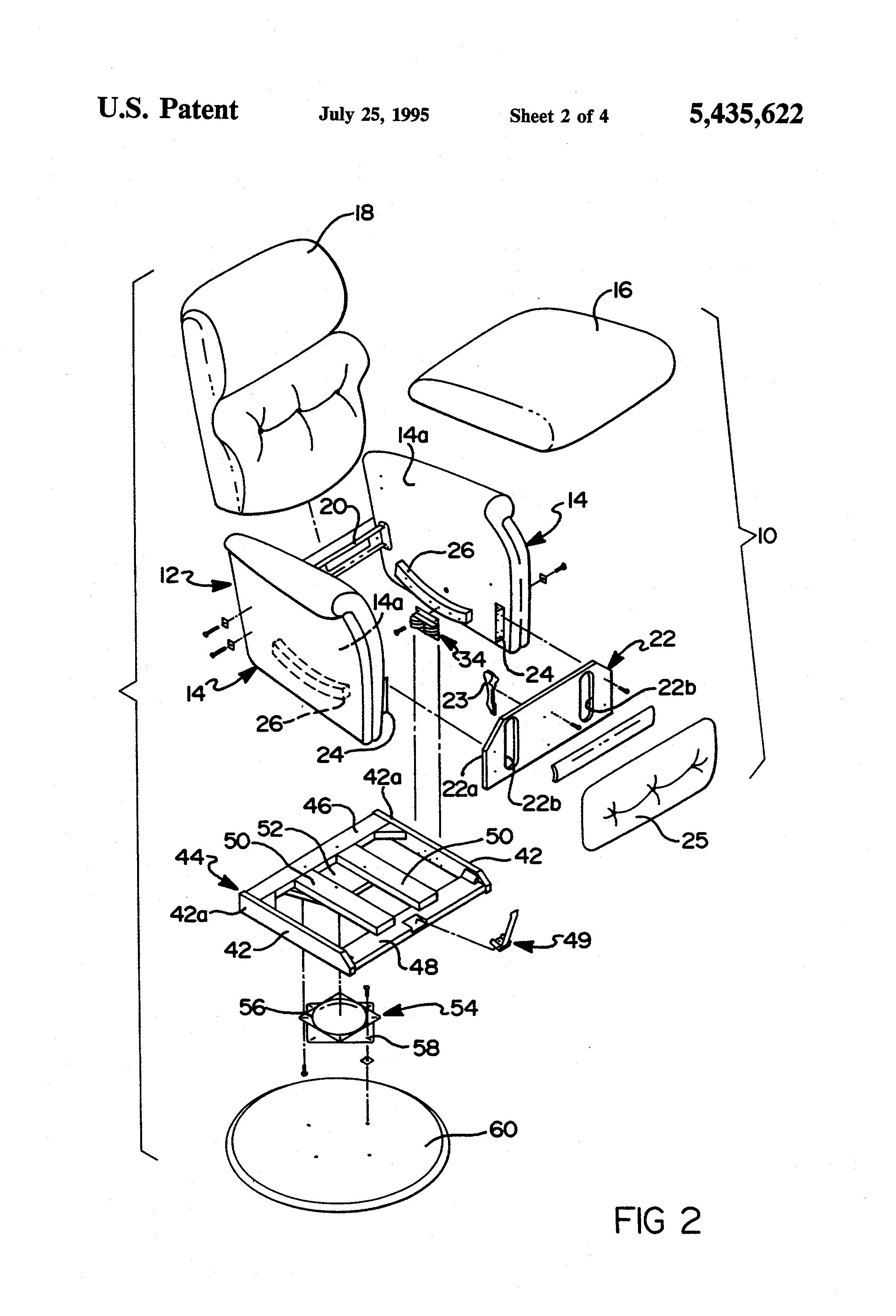 Patent Us5435622 Swivel Recliner Rocker Chair Having