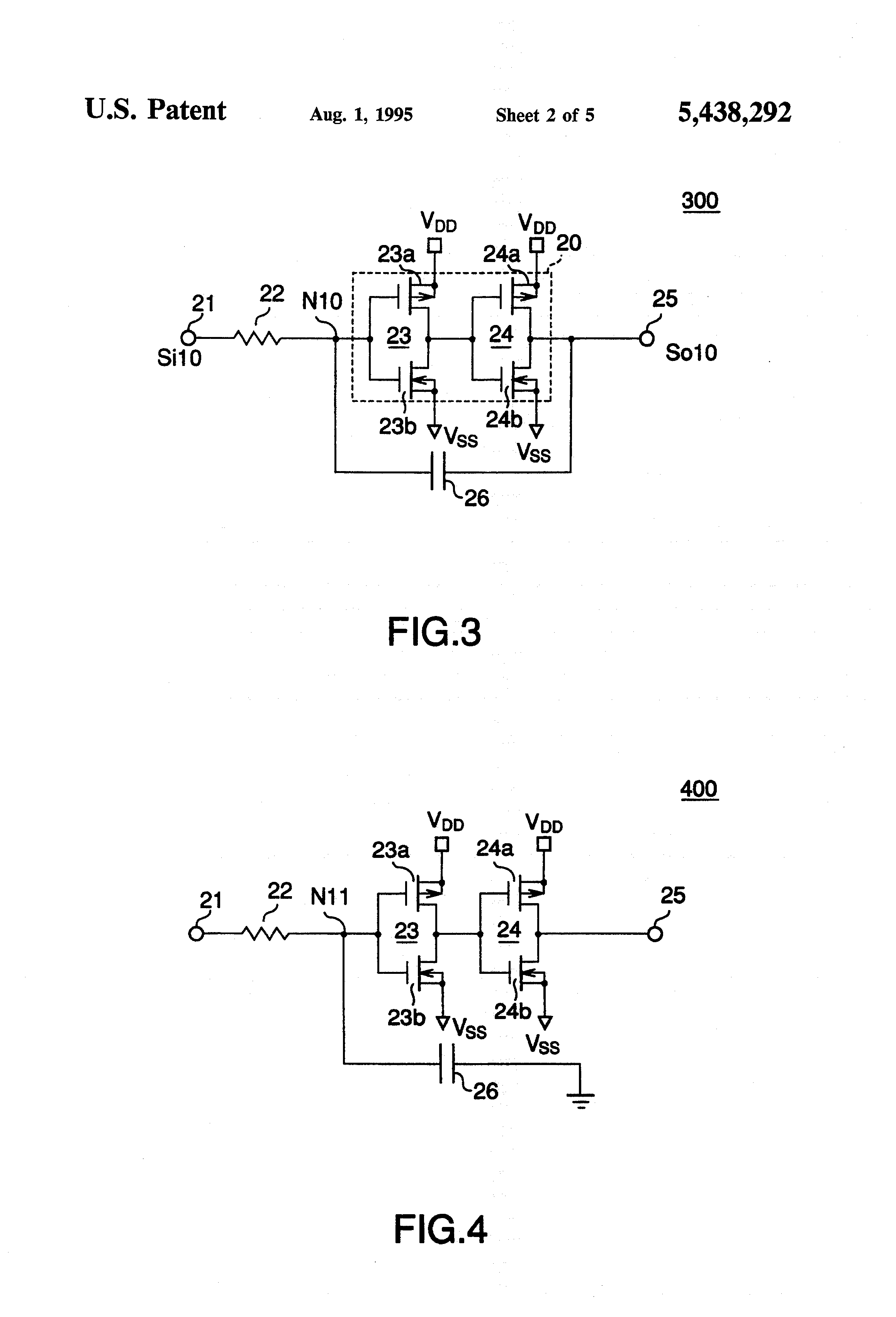 patent us5438292 - schmitt trigger circuit with cmos inverters and filtering means