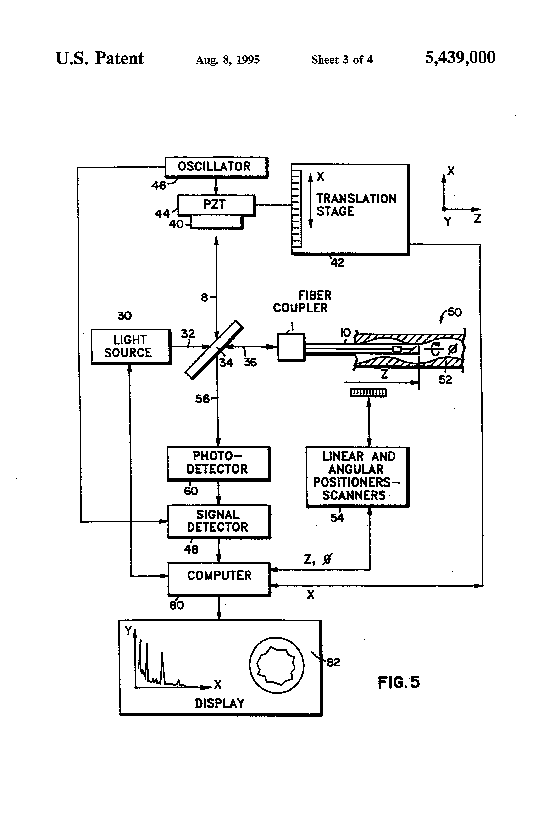 Patent Drawing. Patent US5439000   Method of diagnosing tissue with guidewire