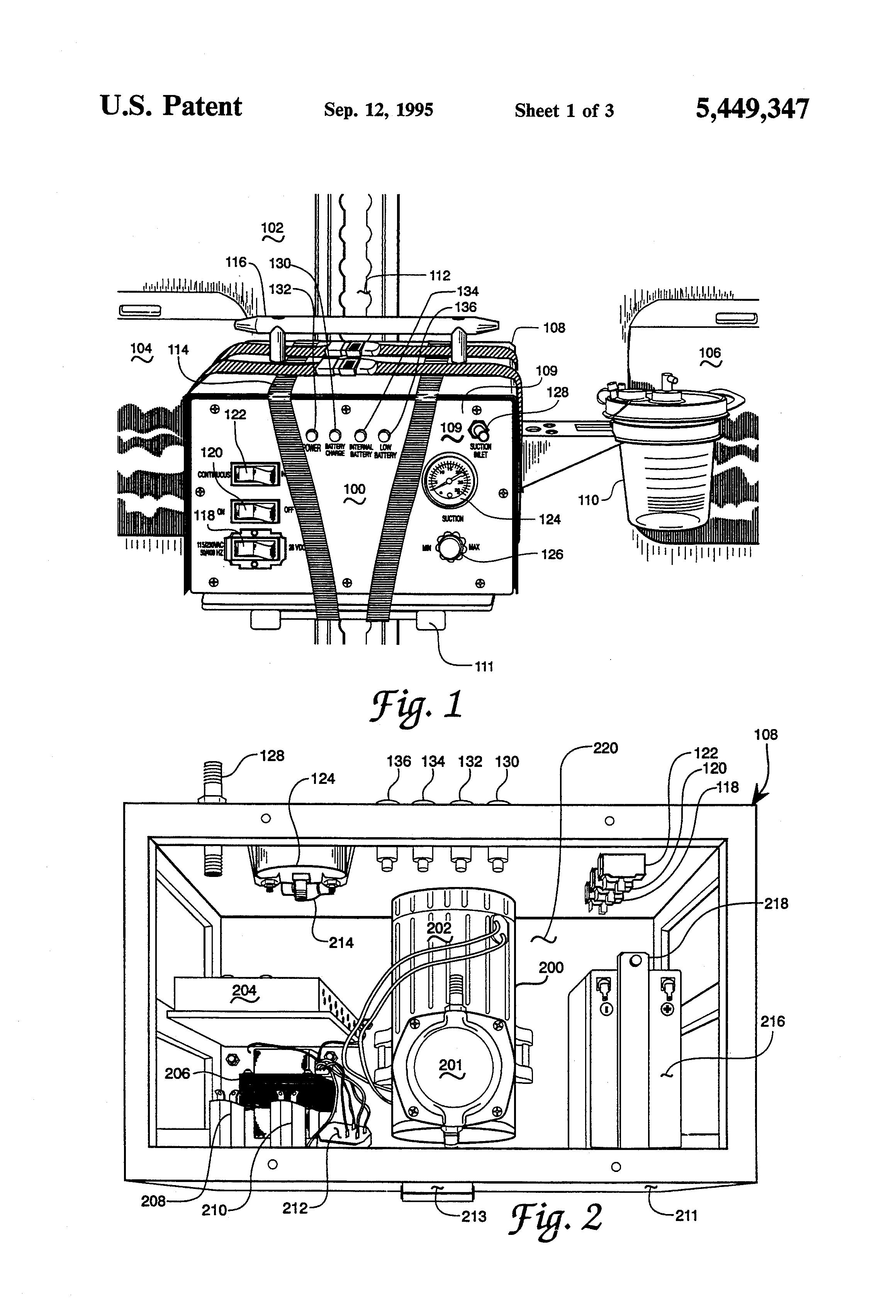 Patent US5449347 - Patient transport, plural power source suction ...