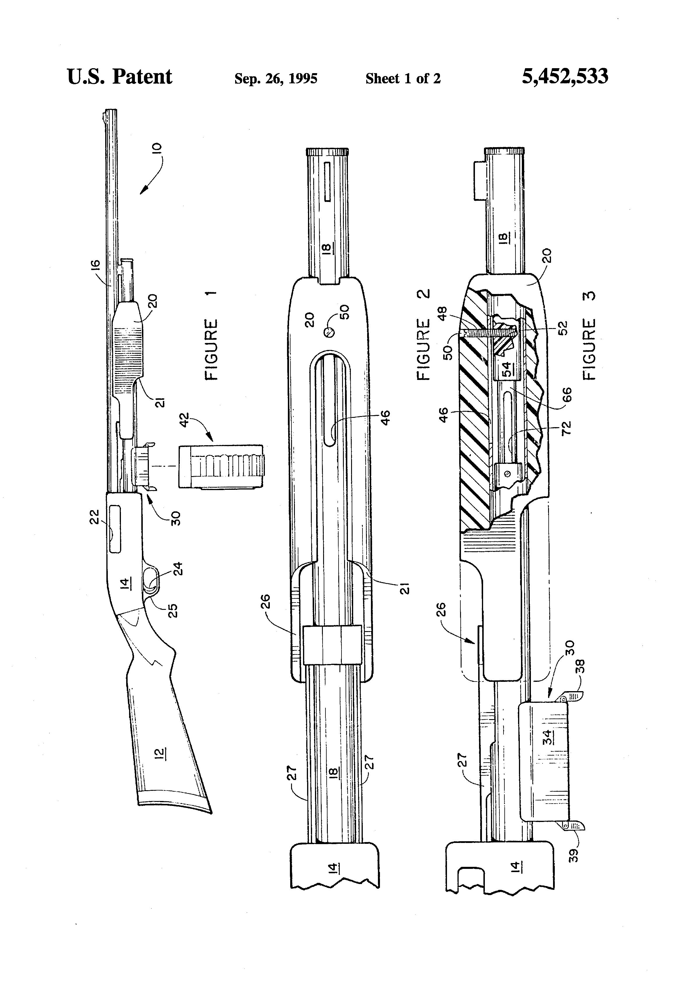 patent us5452533 - magazine loaded pump action shotgun