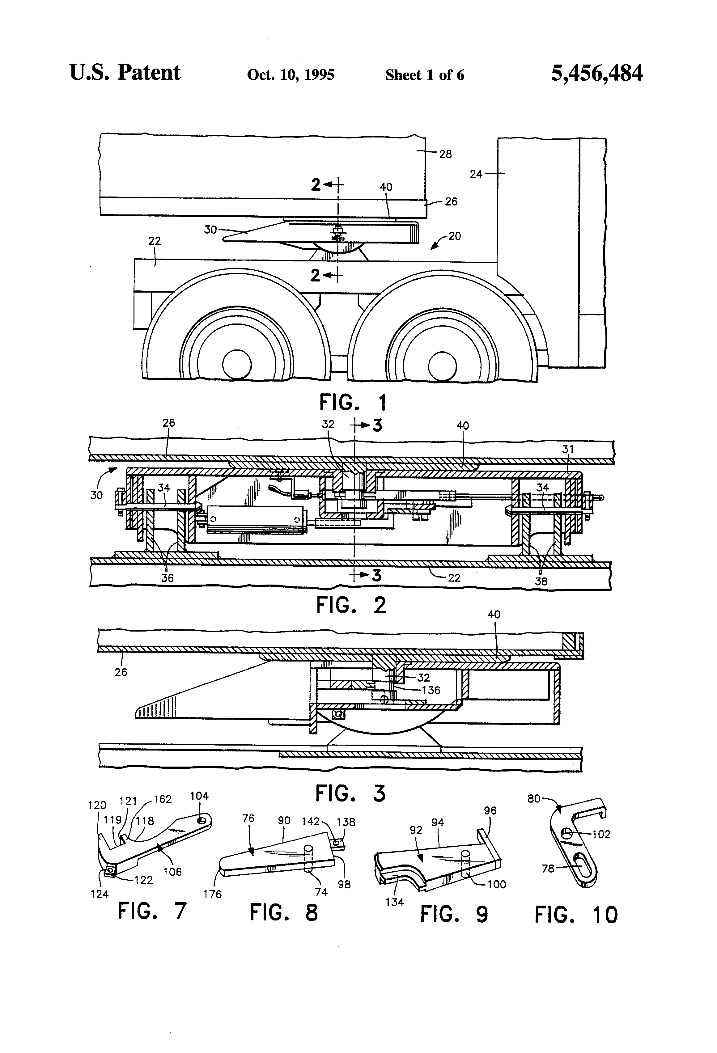 patent us5456484 lock and release mechanism for fifth wheel patent drawing