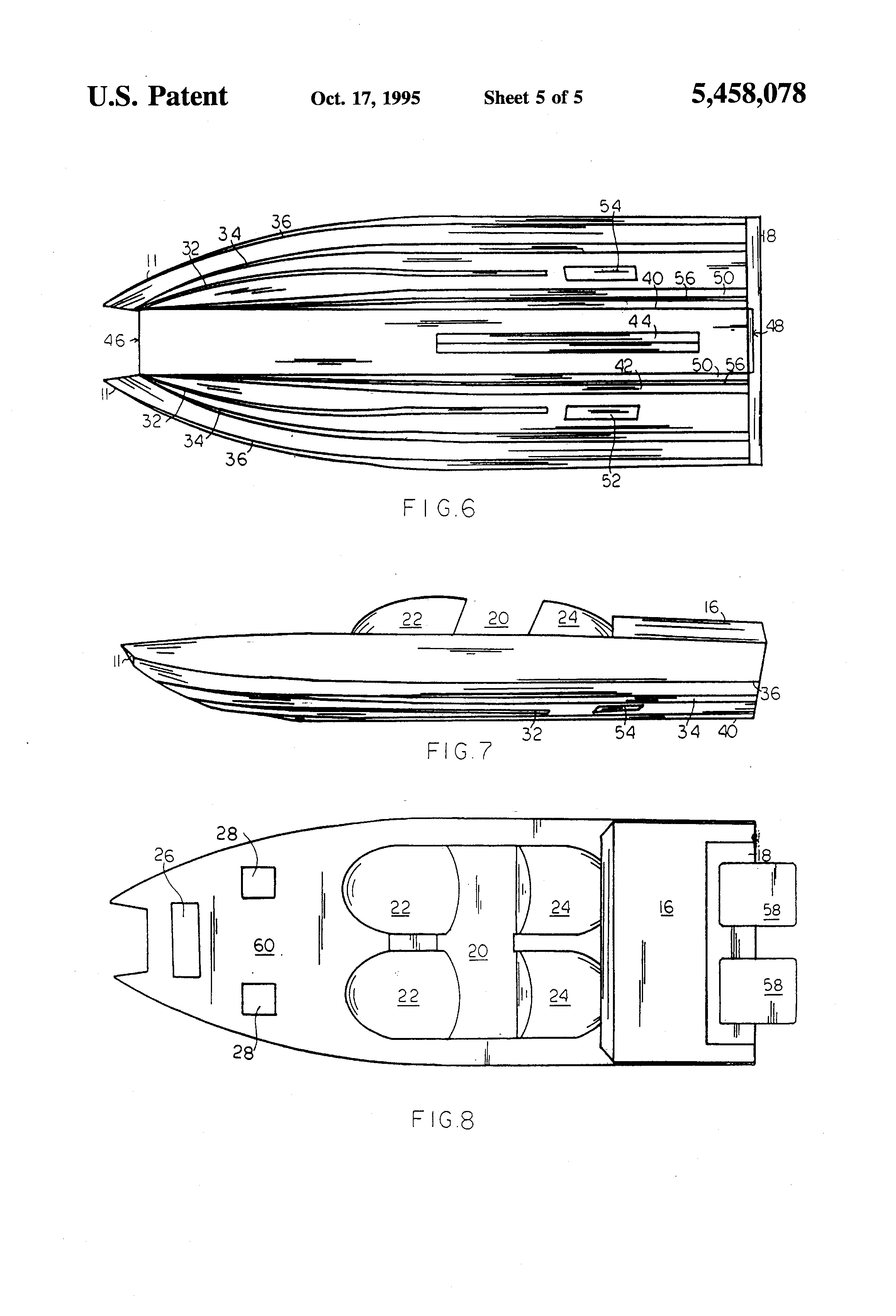 Patent US5458078 - High speed catamaran hull and boat - Google Patents