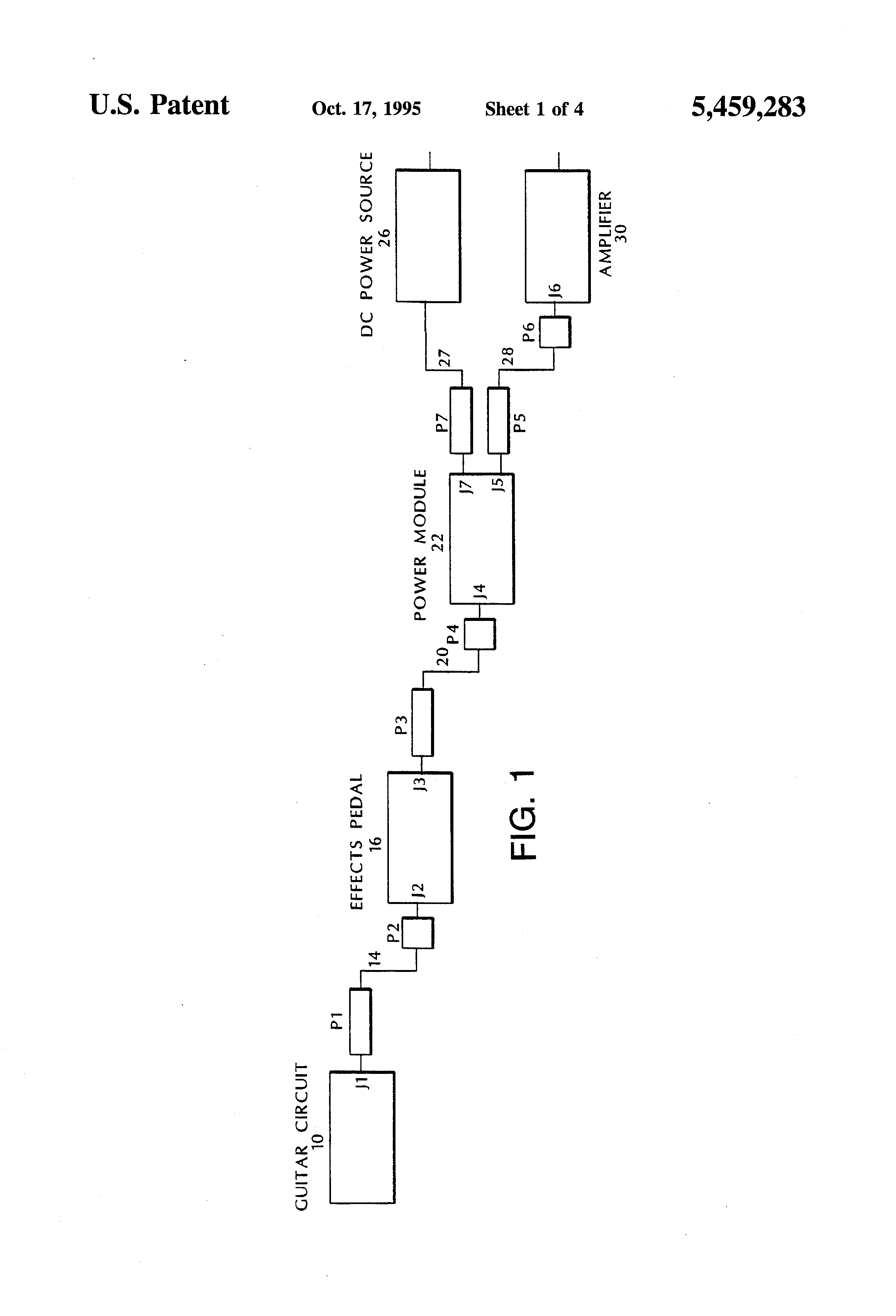 Patent Us5459283 Power System For Electronic Musical Instruments Effects Circuits Drawing