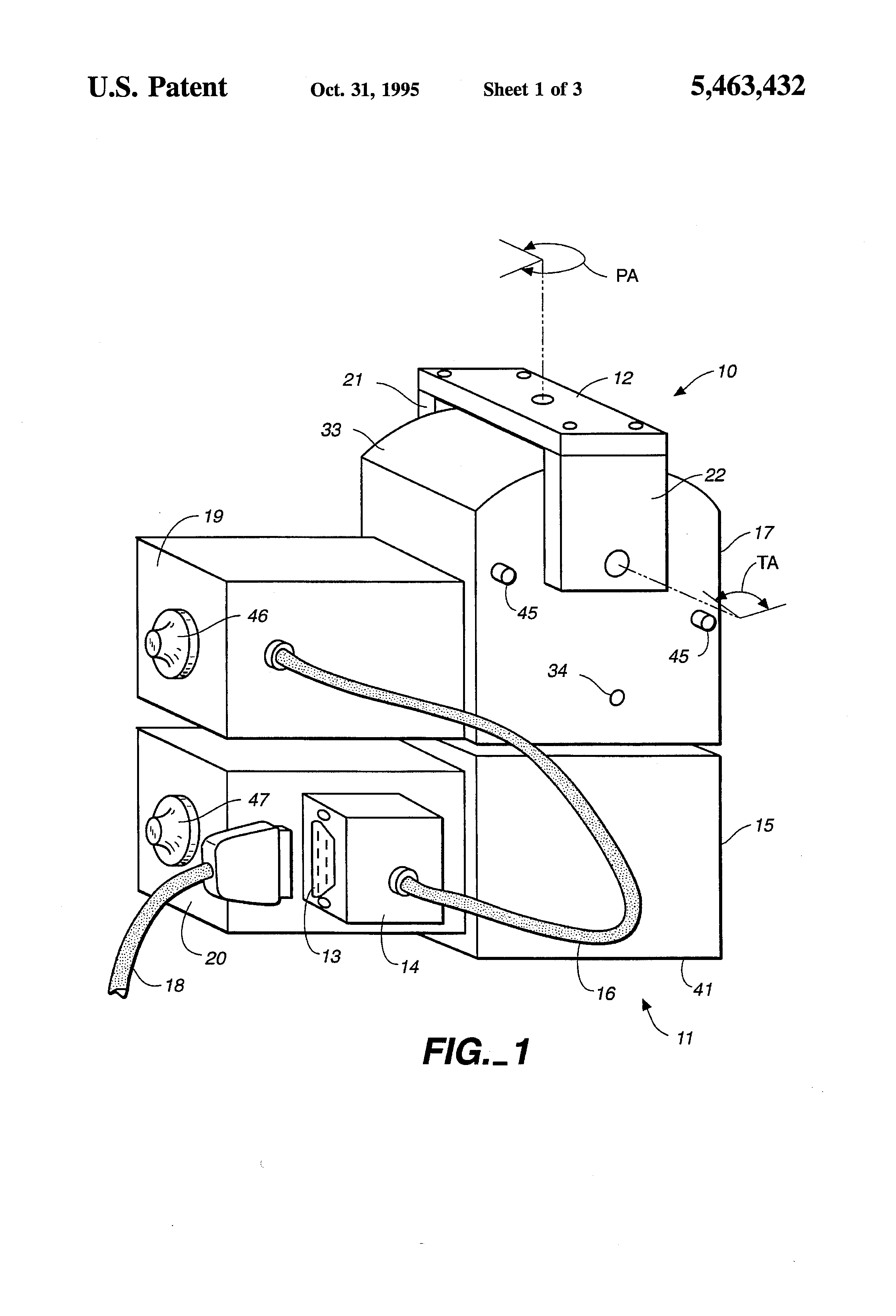patent us5463432 - miniature pan  tilt tracking mount