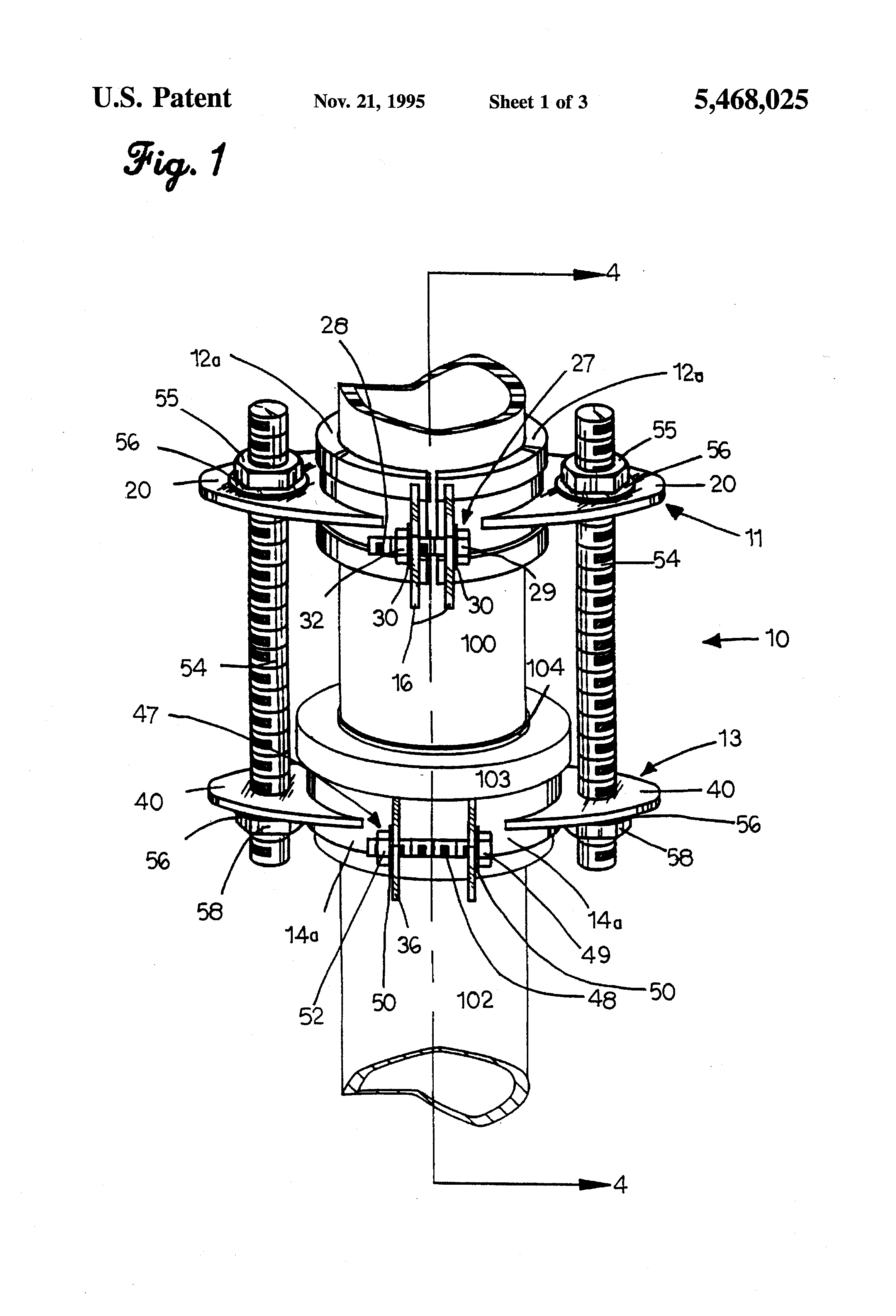 Patent us5468025 sewer line vent clamp assembly google for Sewer line vent