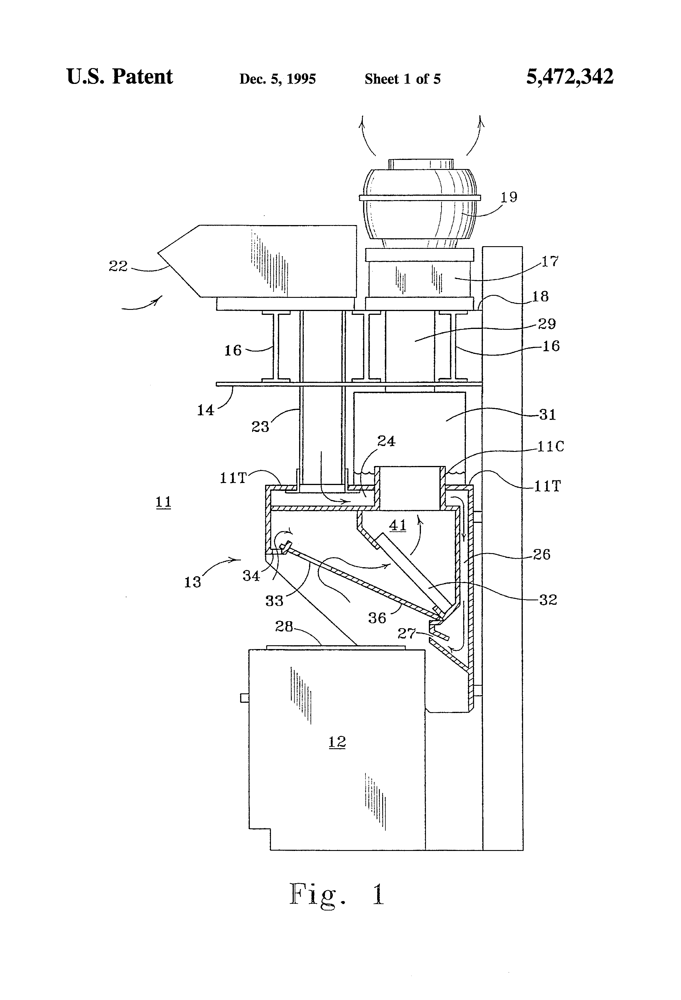 patent us5472342 - kitchen exhaust hood grease extractor