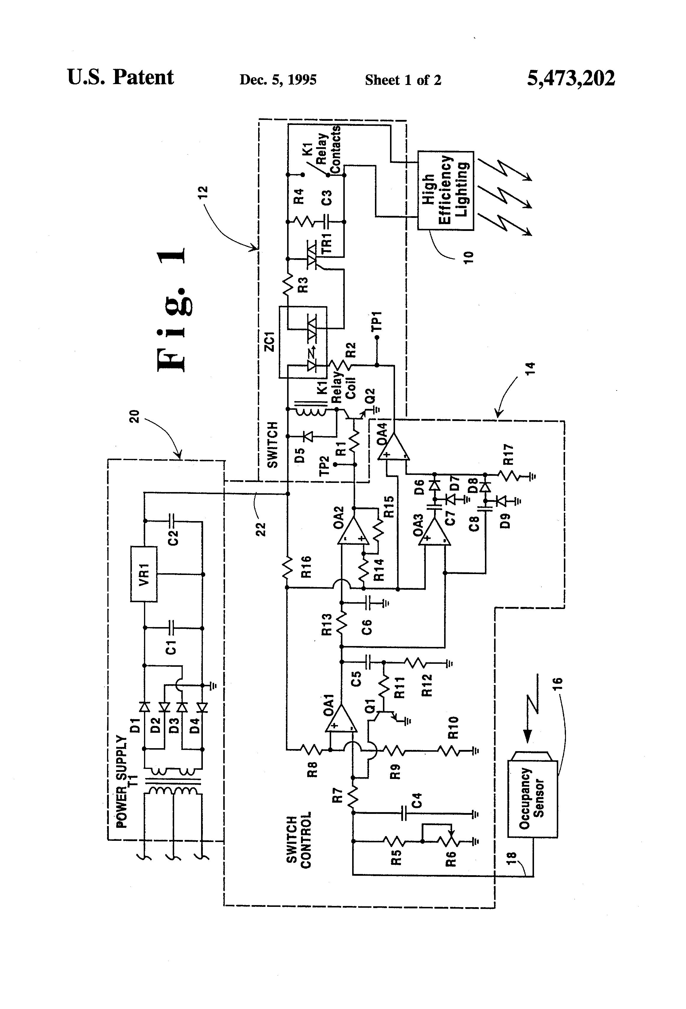 Occupancy Light Sensor Schaltplang Auto Electrical Wiring Diagram Hyundai Santro Fuse Box Patent Us5473202