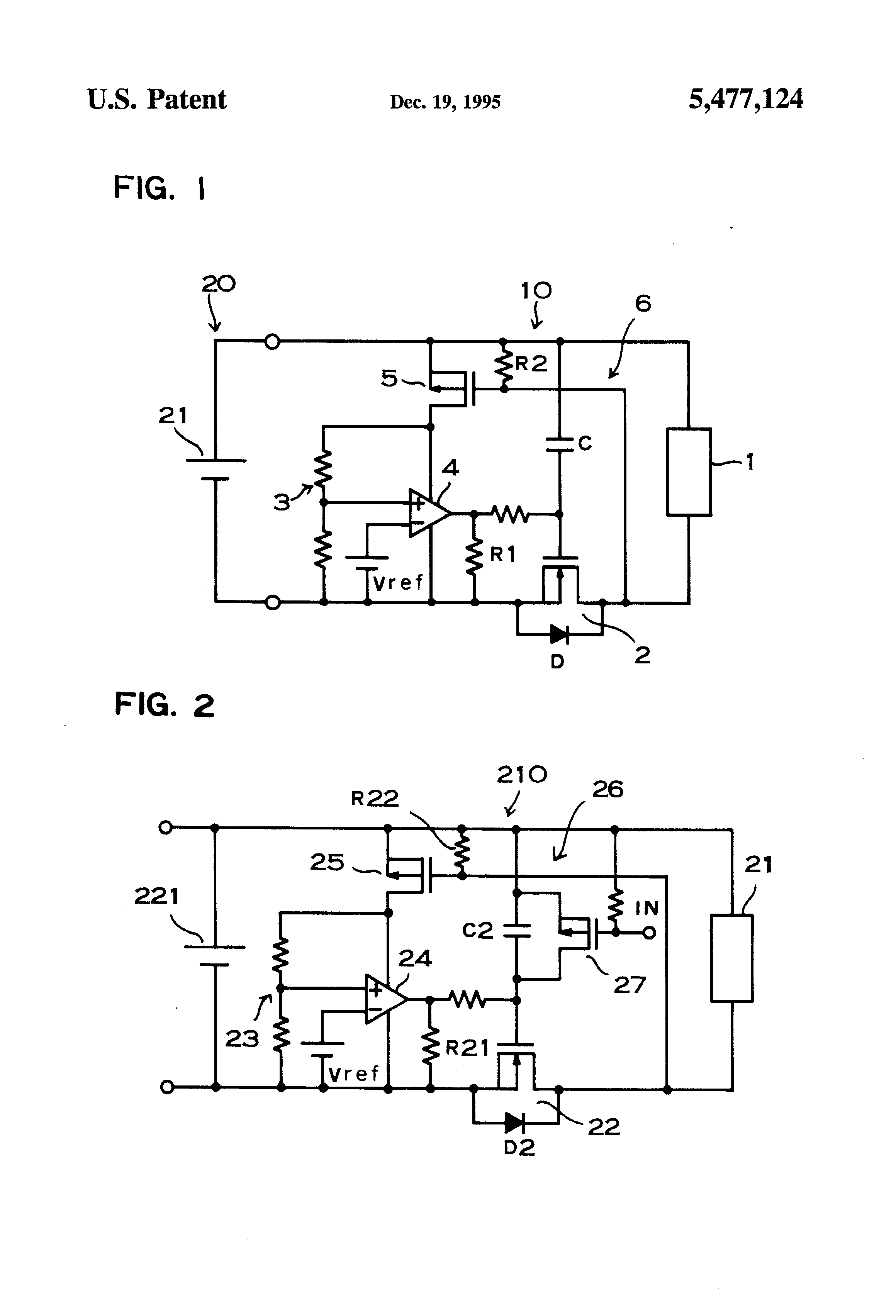 Rechargeable Battery Circuit Diagram   Patent Us5477124 Circuit To Prevent Excessive Rechargeable Battery