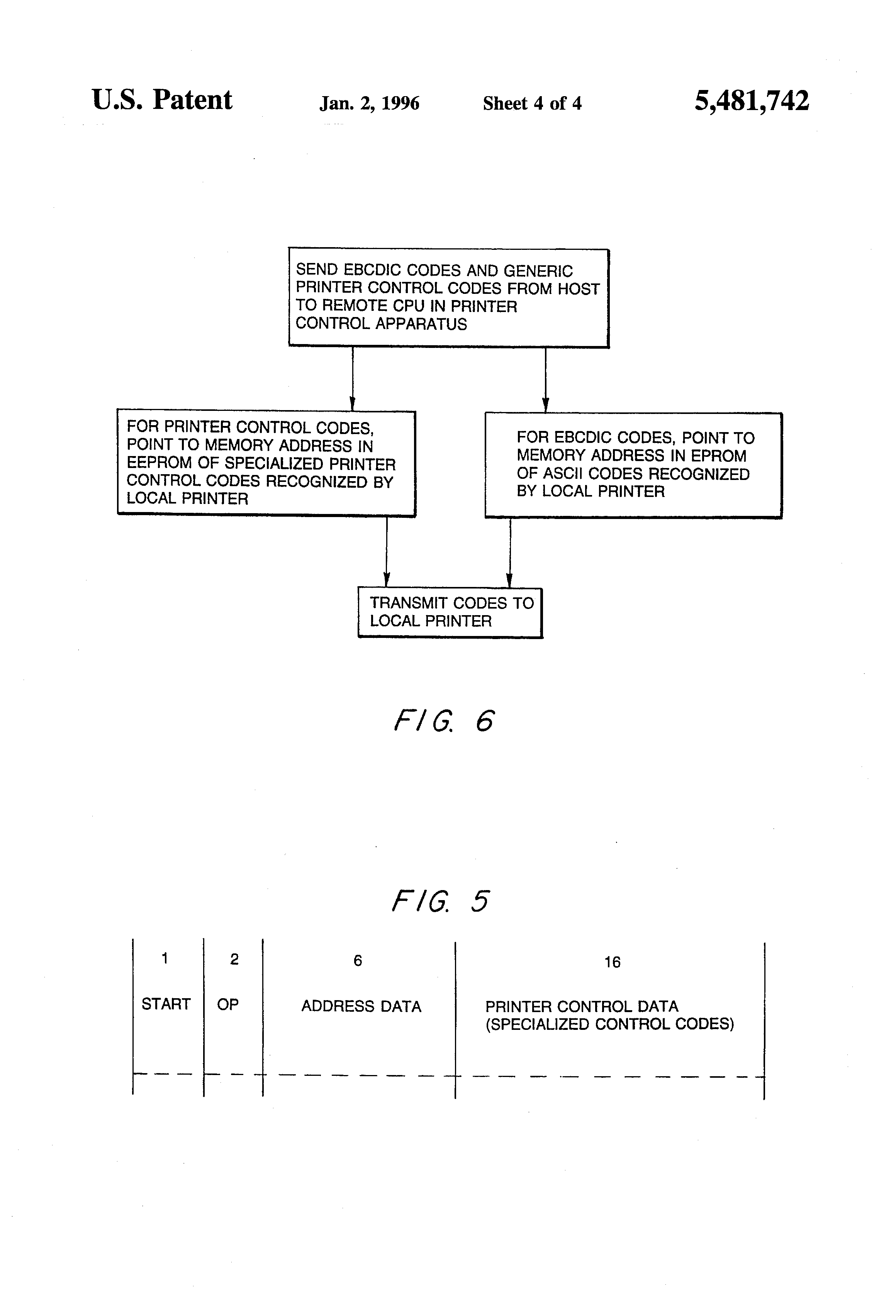 Patent Us5481742 Printer Control Apparatus For Remotely Modifying