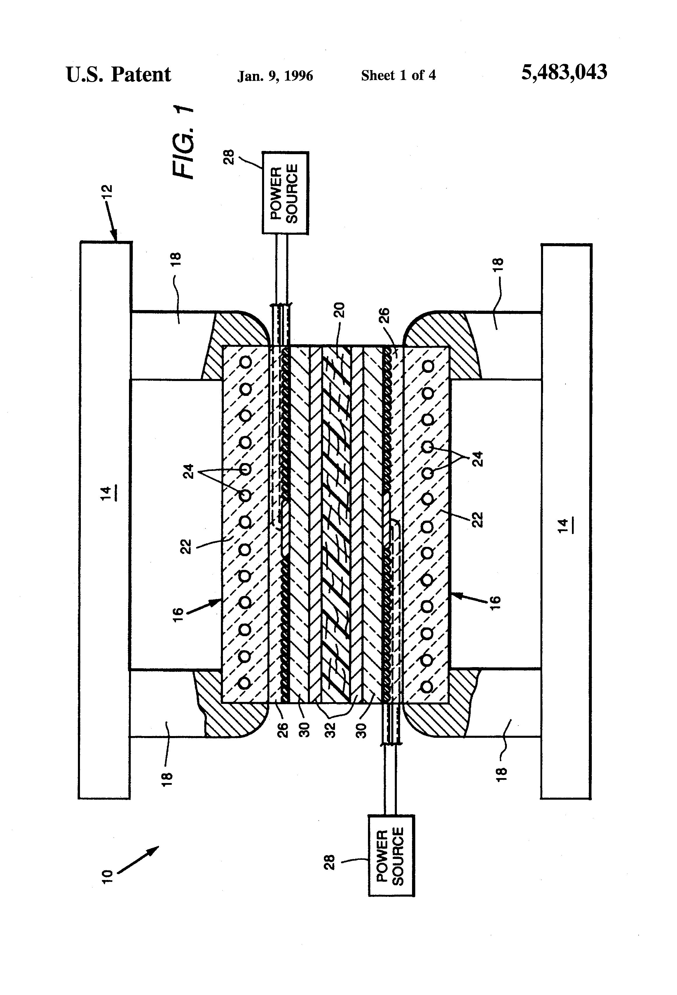 Patent Us5483043 Induction Heating Polymer Matrix Composites Drawing Diagram Schematic Systems