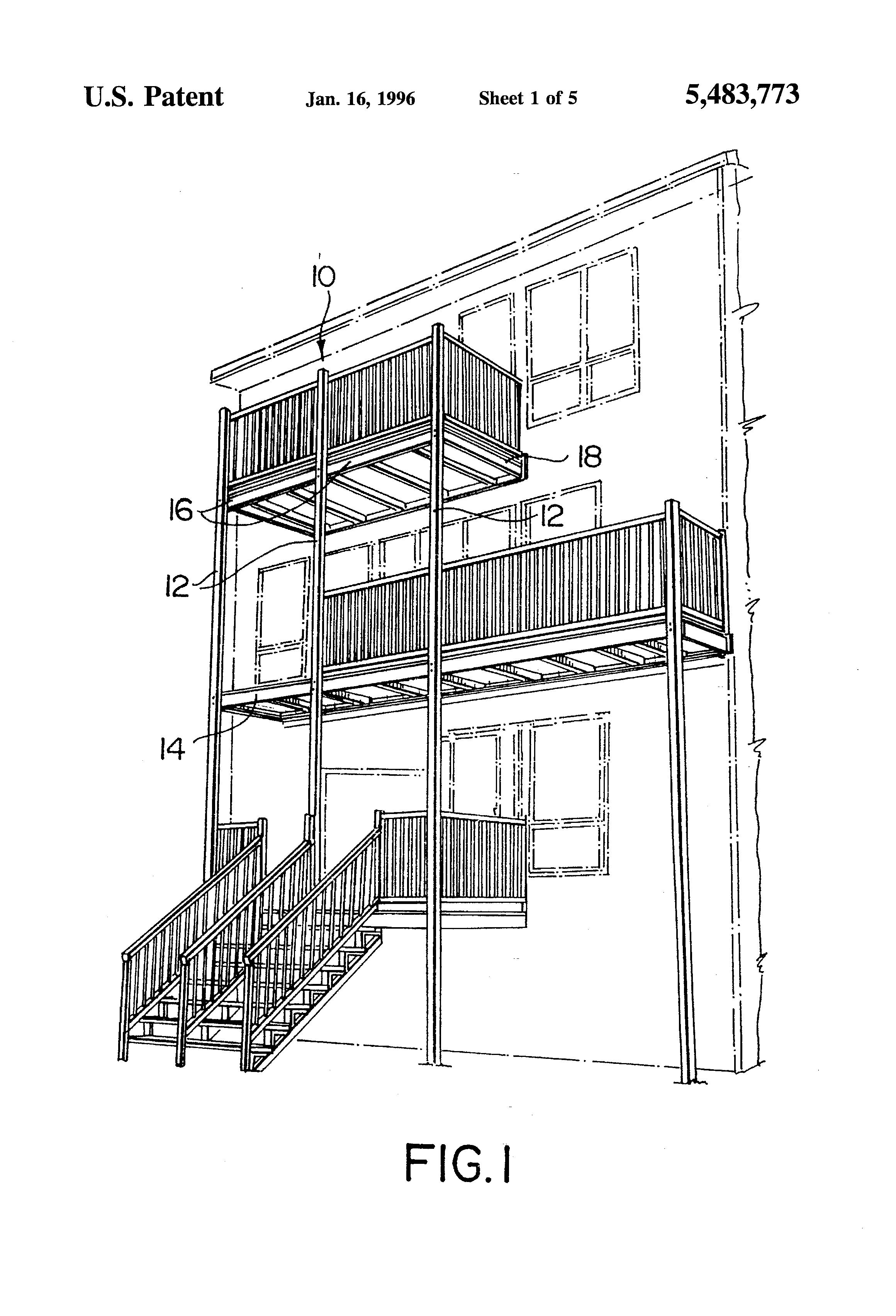Patent Us5483773 Prefabricated Balcony Google Patents