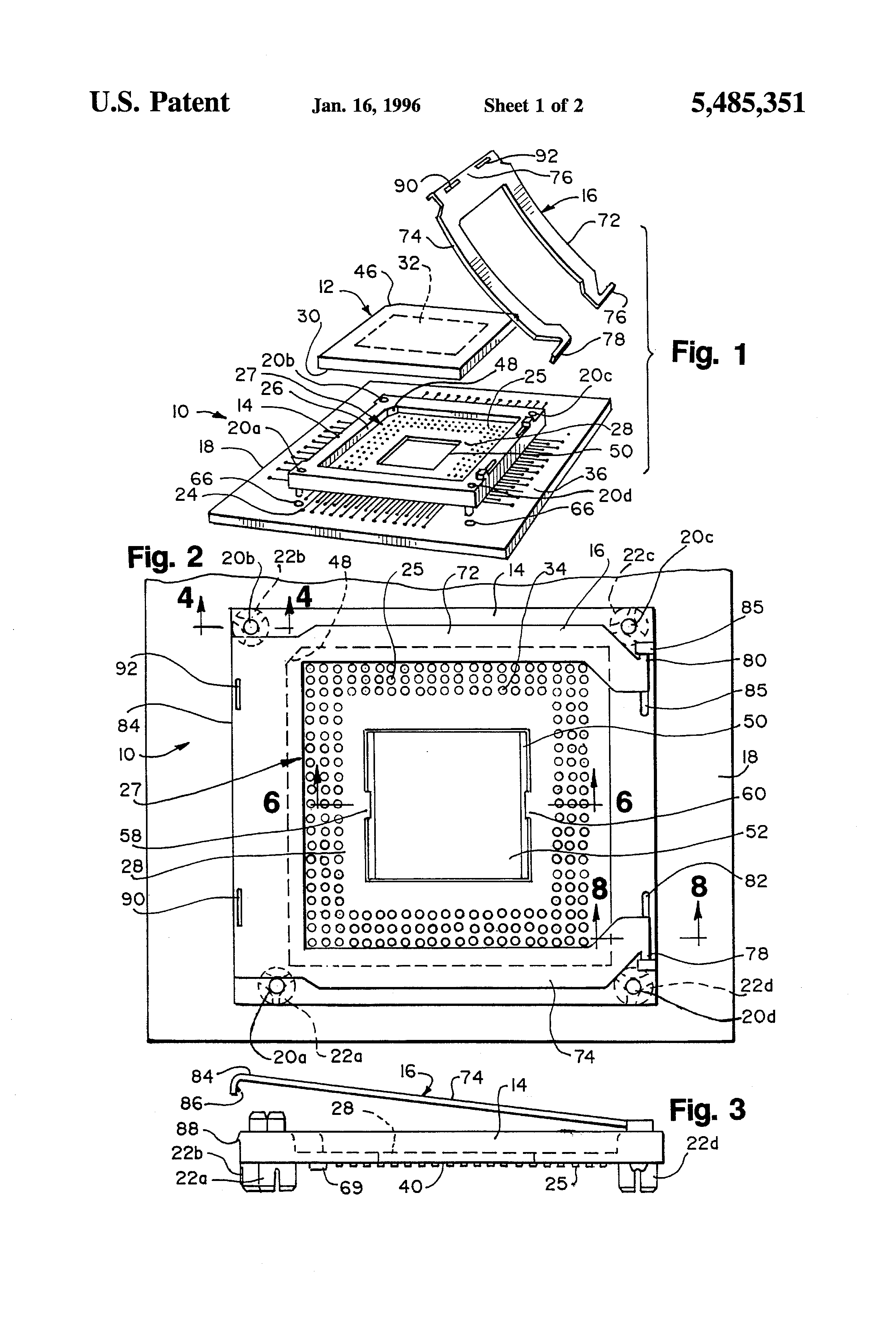 patent us5485351 - socket assembly for integrated circuit chip package