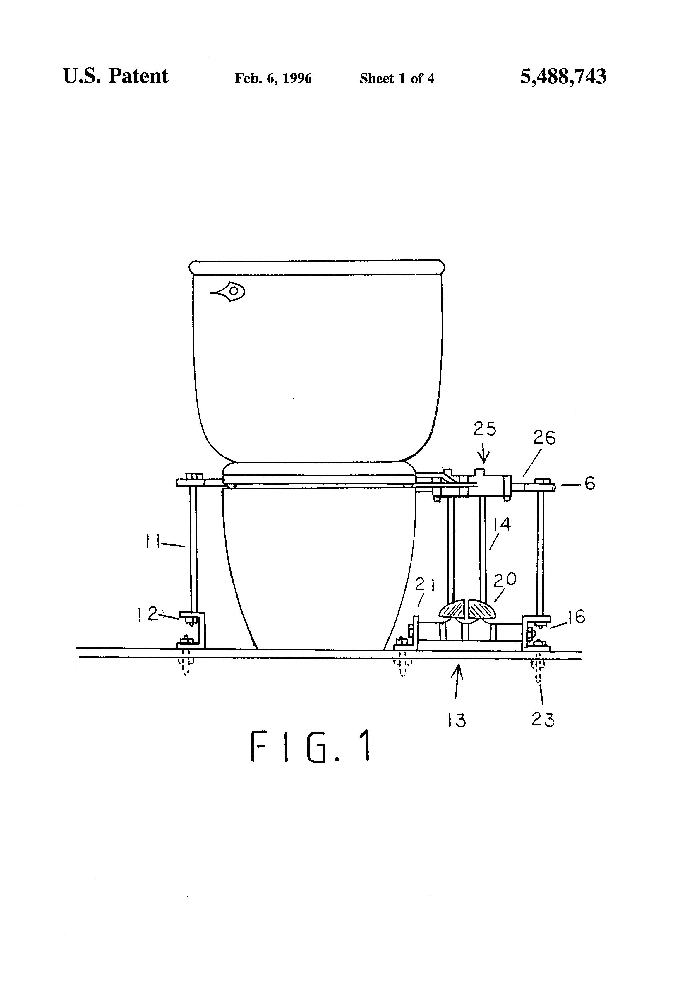 patent us5488743 toilet seat pedal lifter google patents. Black Bedroom Furniture Sets. Home Design Ideas