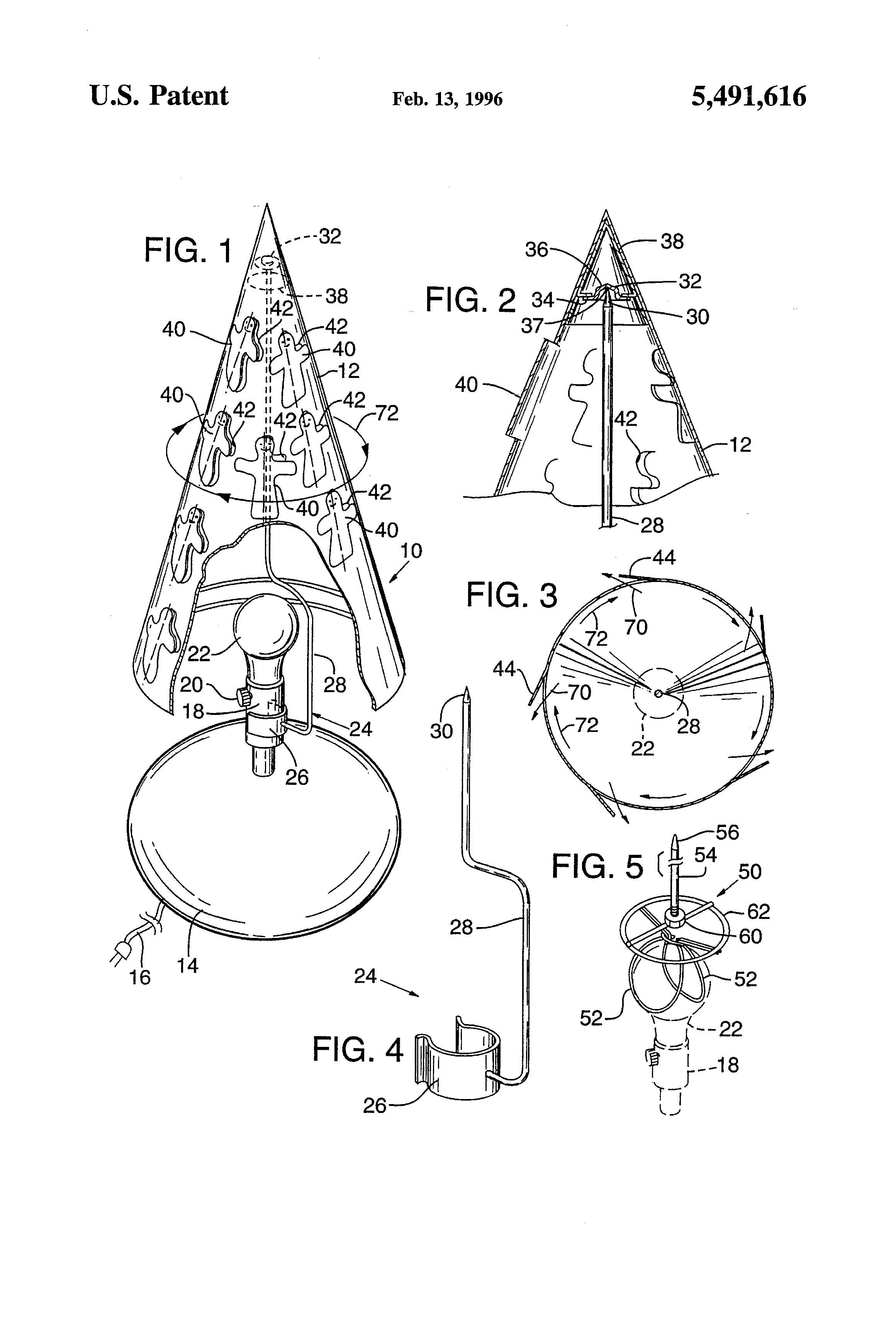 Patent US5491616 - Heat induced rotating lamp shade - Google Patents