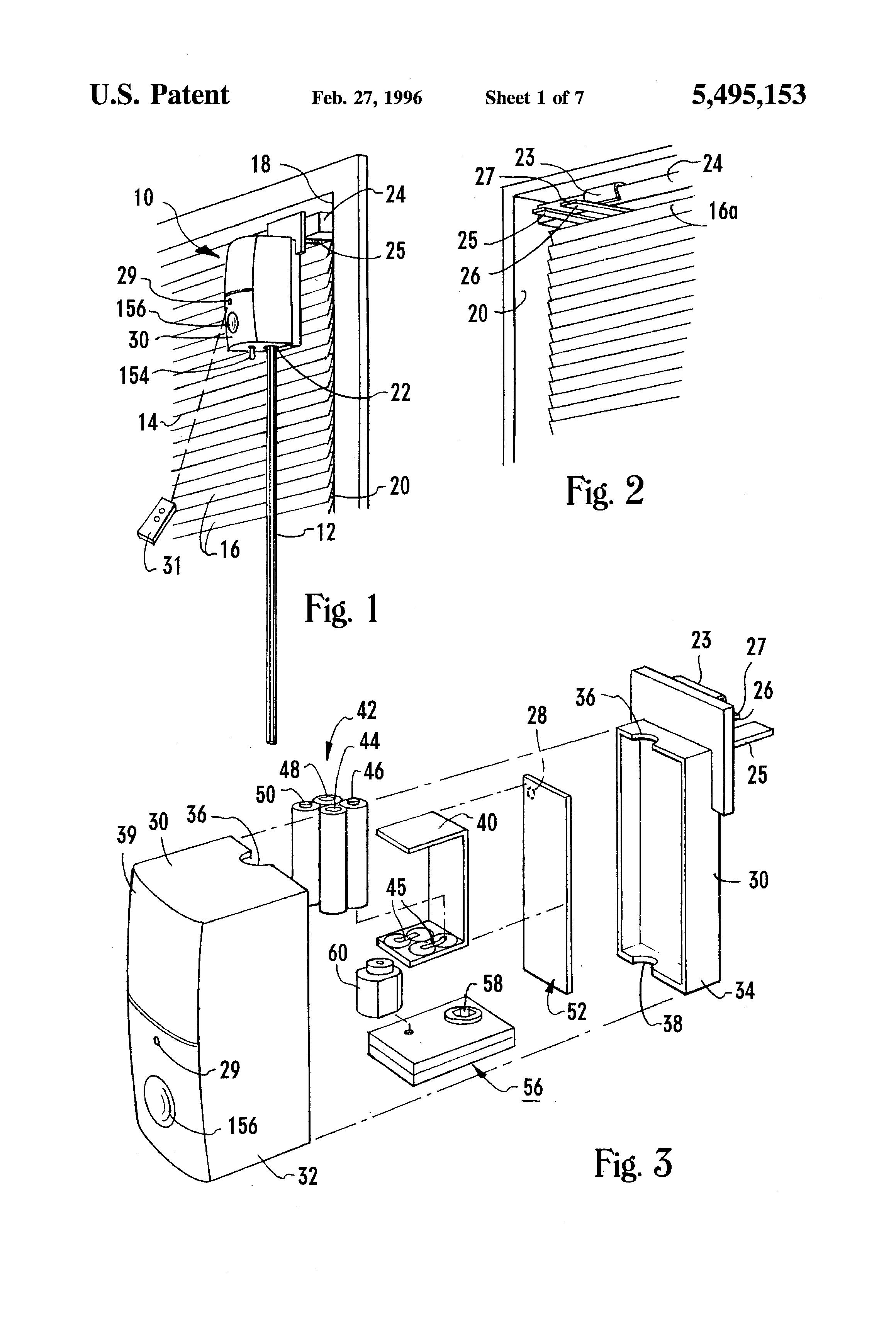 Patent Us5495153 Head Rail Mounted Mini Blind Actuator