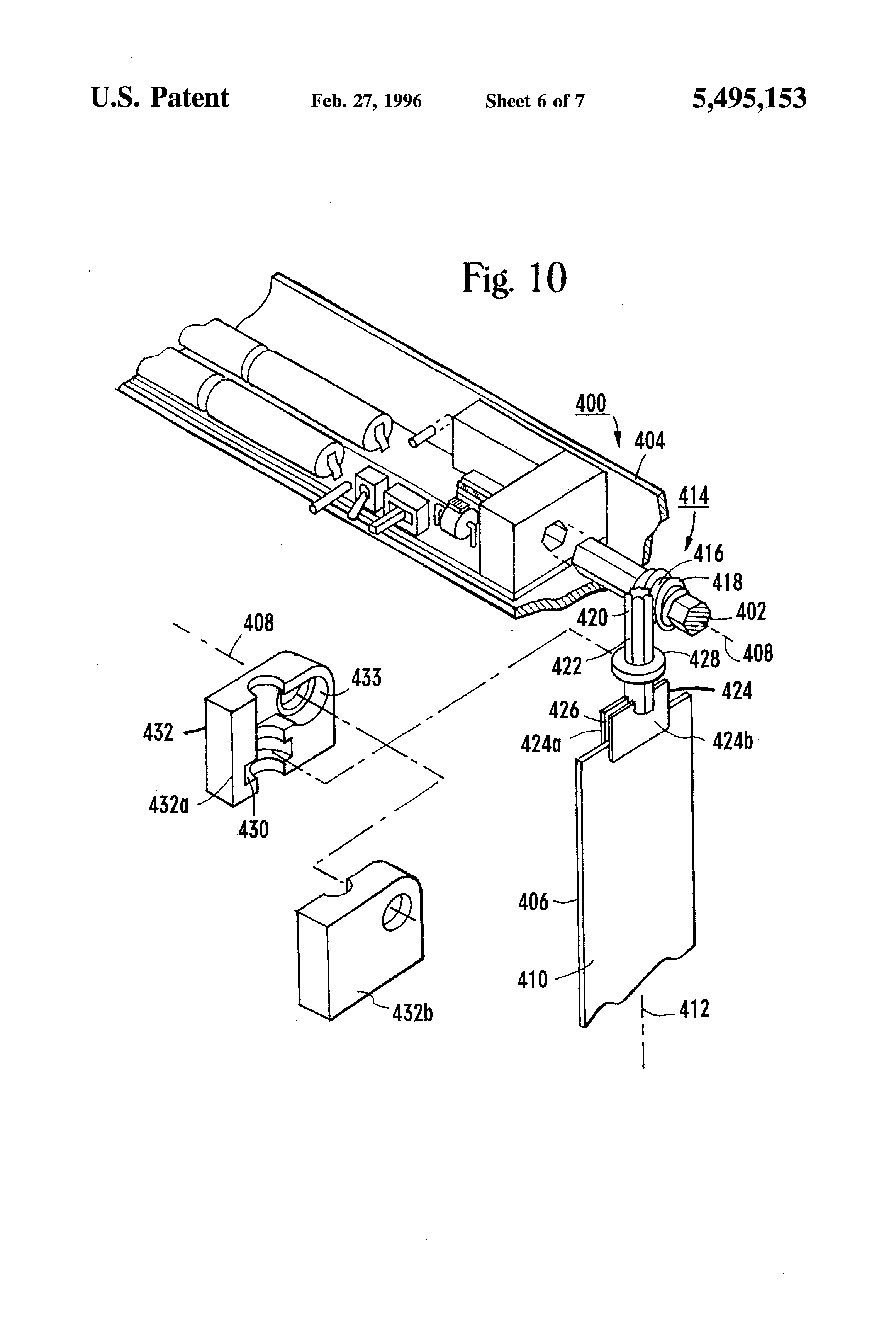 Patent Us5495153 Head Rail Mounted Mini Blind Actuator