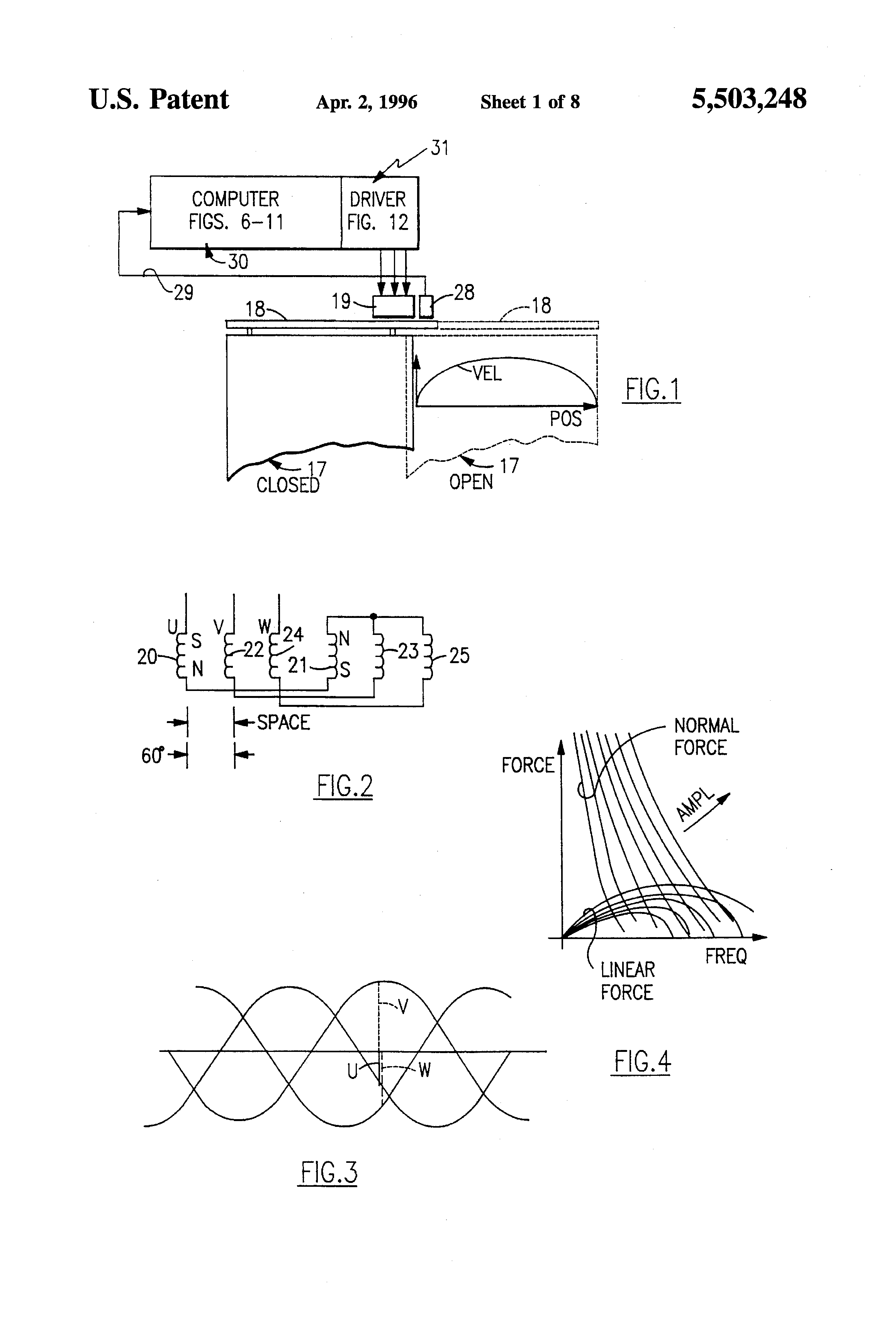 Brevetto us5503248 maintaining open loop current drive for Linear induction motor winding