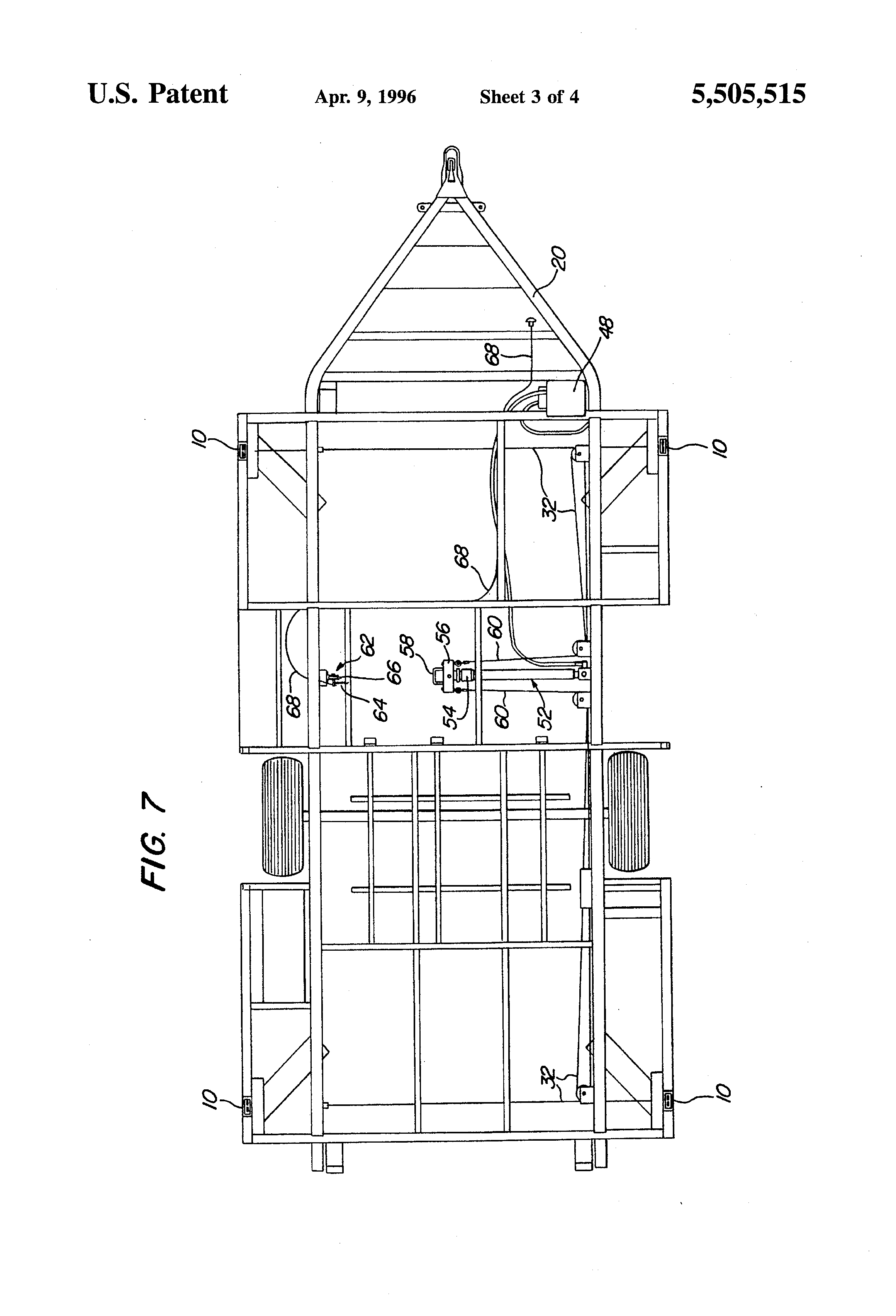 US5505515 3 patent us5505515 folding trailer with hydraulic lift system wiring diagram coleman tent trailer at fashall.co