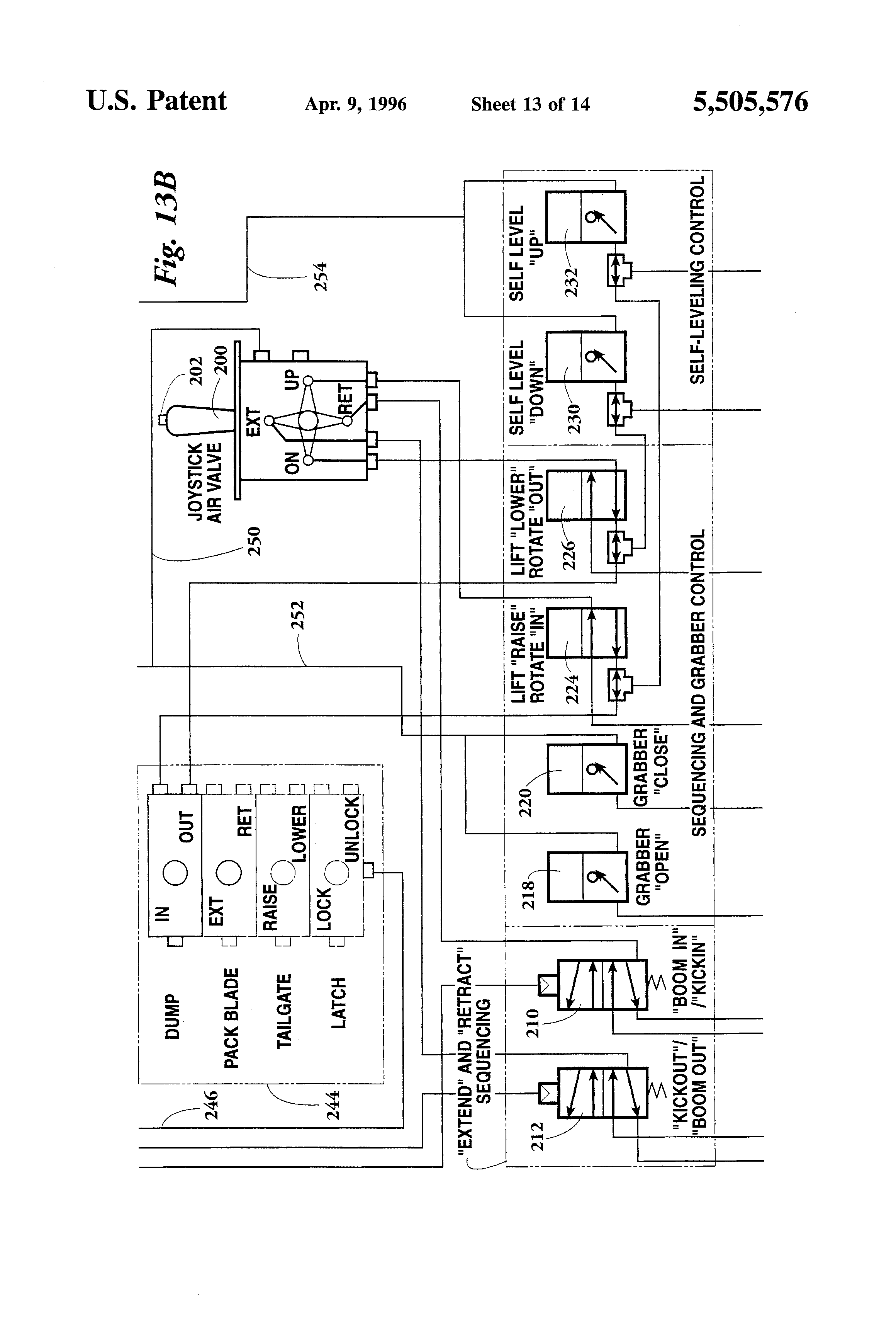 US5505576 13 patent us5505576 side loader for curbside refuse container wiring diagram for mcneilus front loader at edmiracle.co