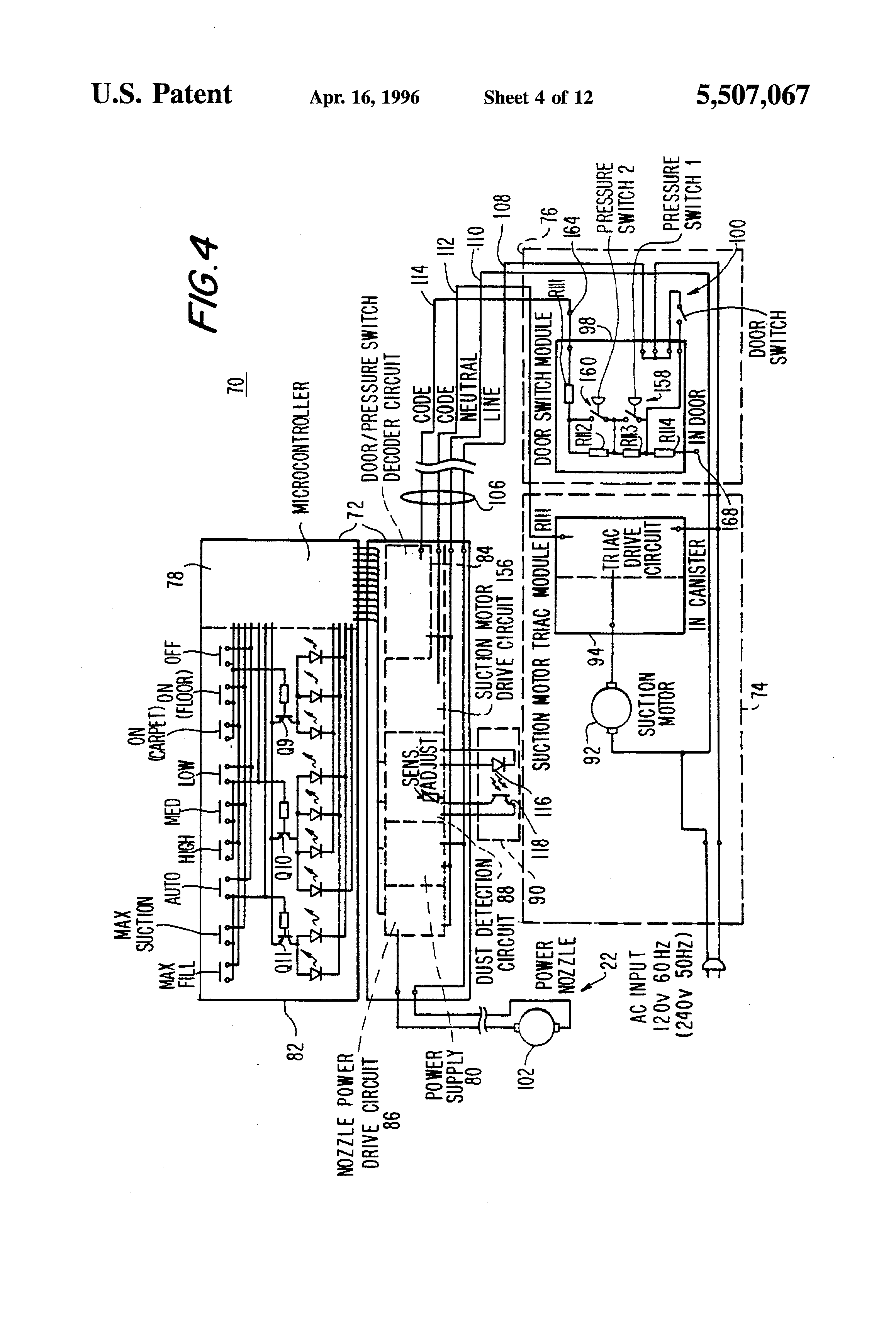 patent us5507067 electronic vacuum cleaner control system patent drawing
