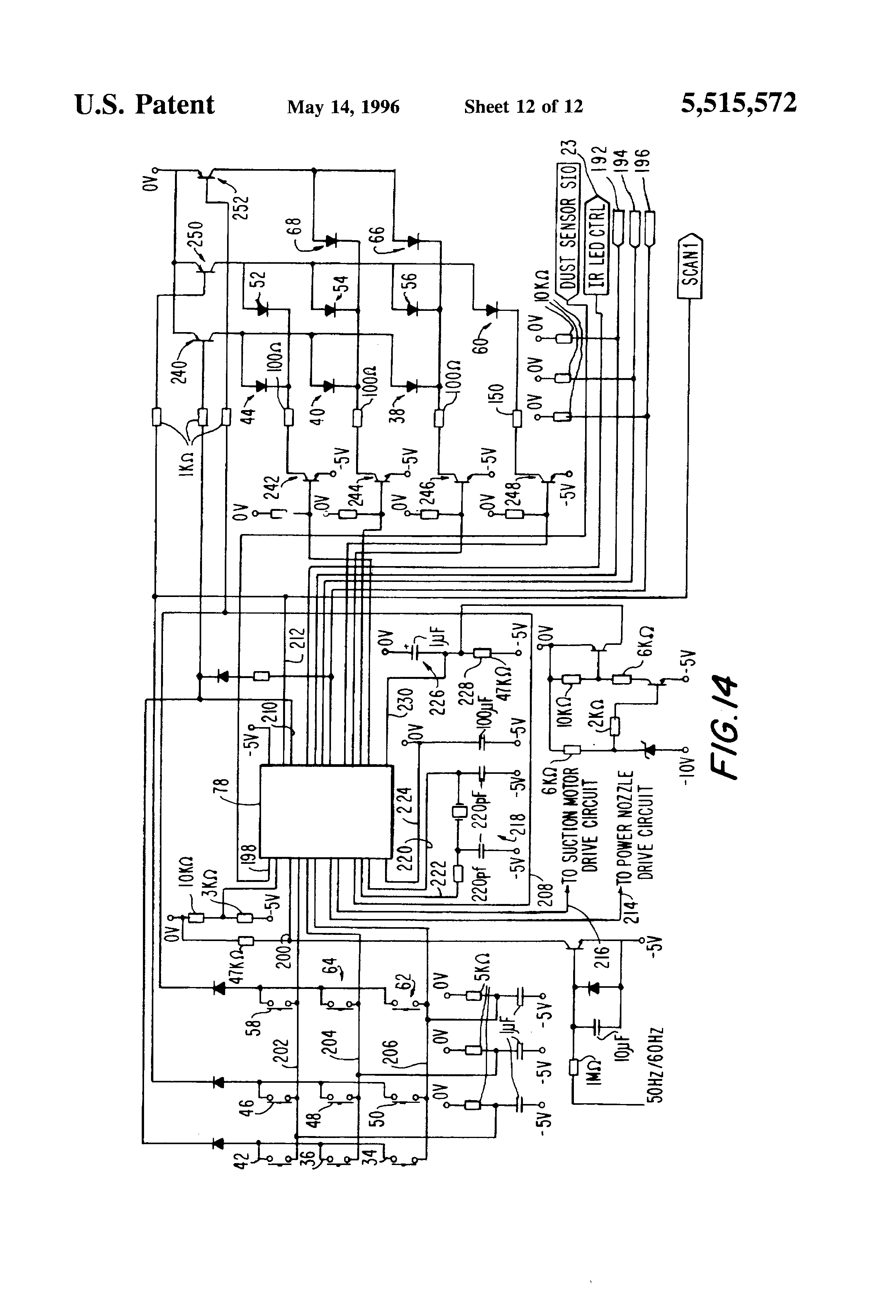 patent us5515572 electronic vacuum cleaner control system patent drawing