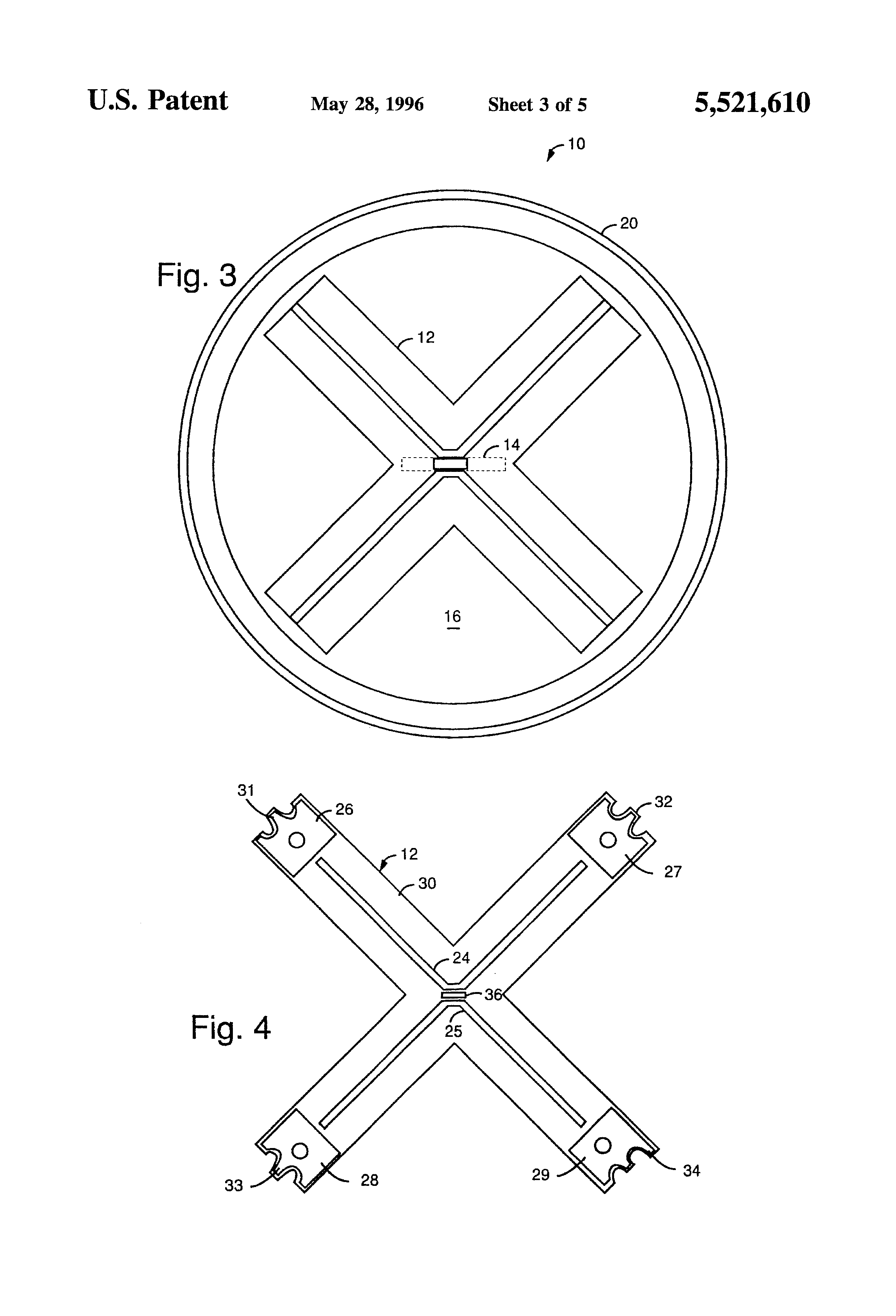 patent us5521610 - curved dipole antenna with center-post amplifier