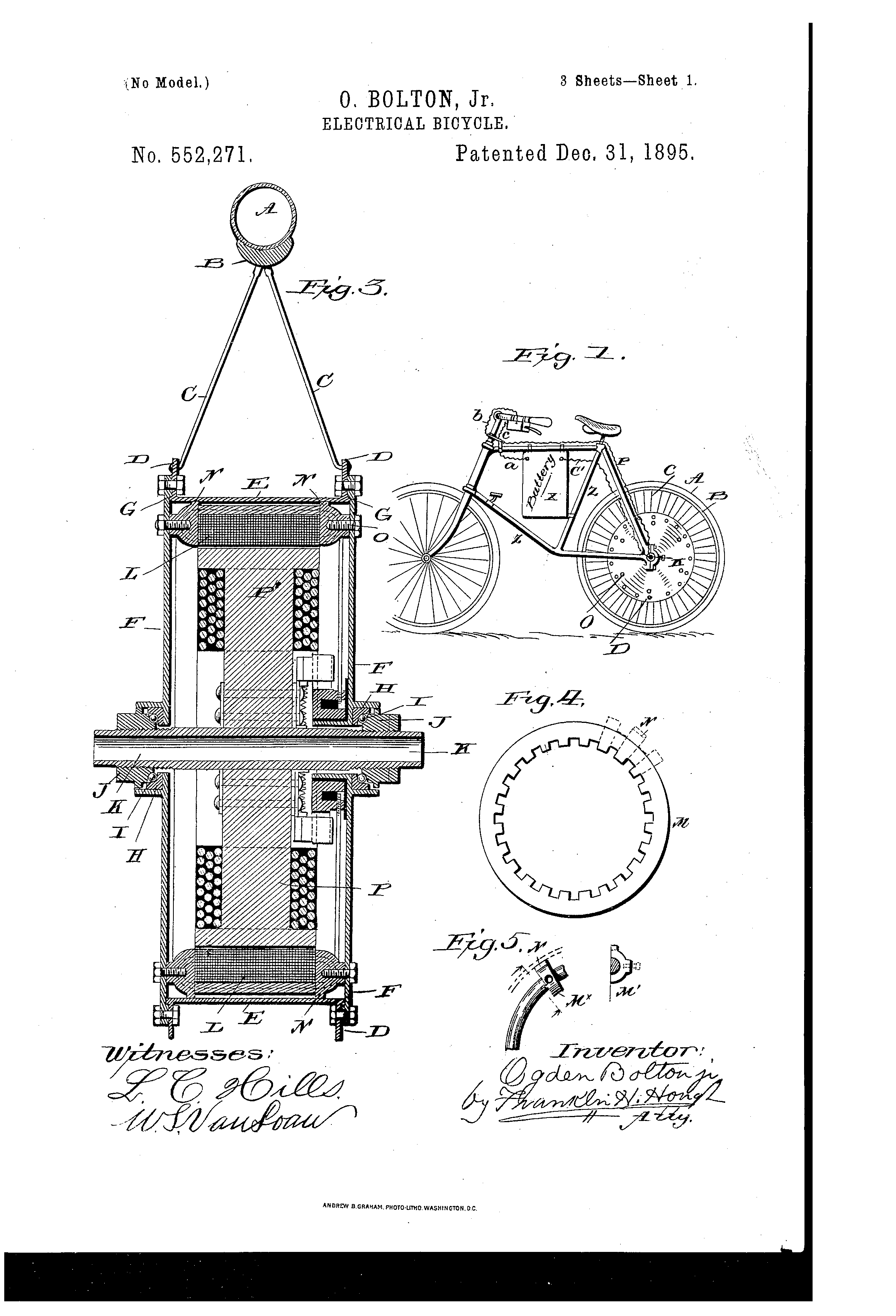 patent us552271 - electrical bicycle
