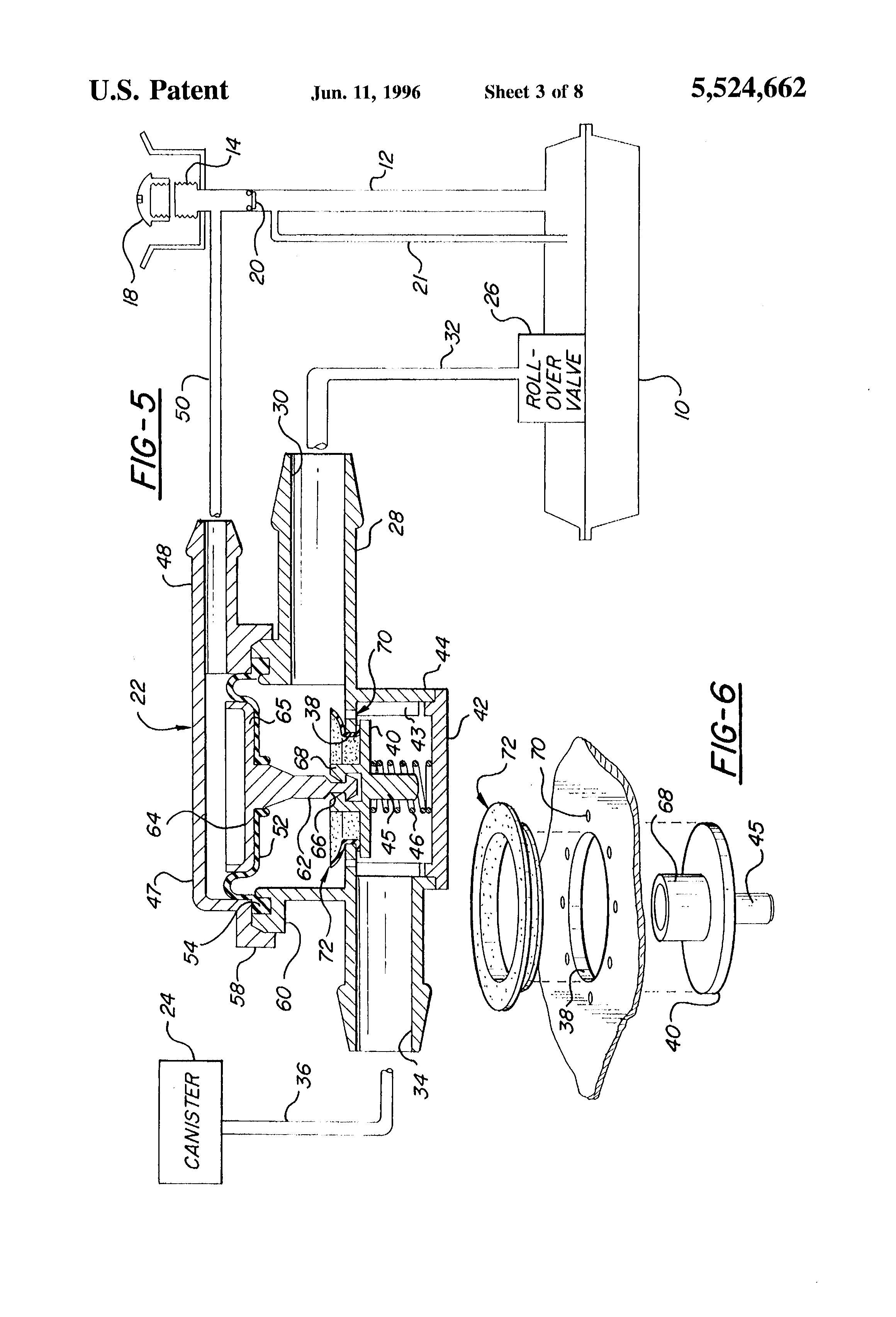 Patent Us5524662 Fuel Tank Vent System And Diaphragm