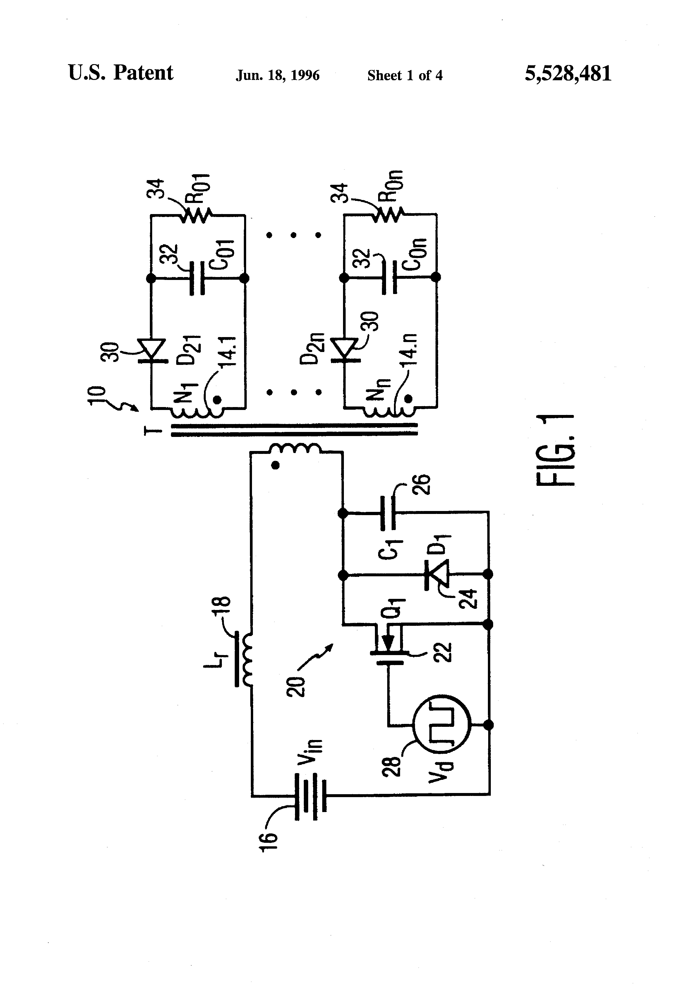 Patent Us5528481 Low Noise Multi Output And Resonant Flyback Snubber Circuit Is A Consisting Of Resistor R Drawing