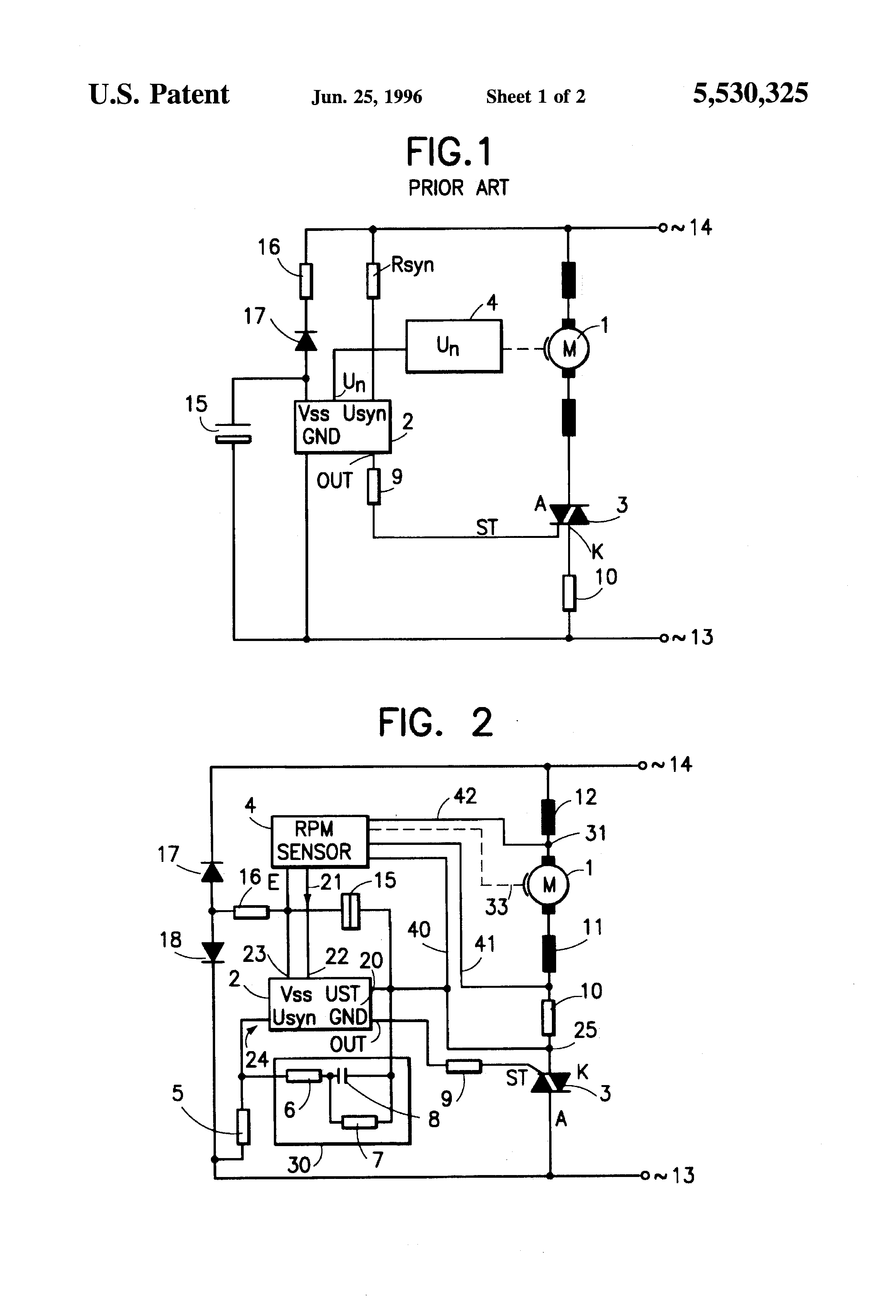 Patent us5530325 speed control circuit for a universal for Universal motor speed control circuit