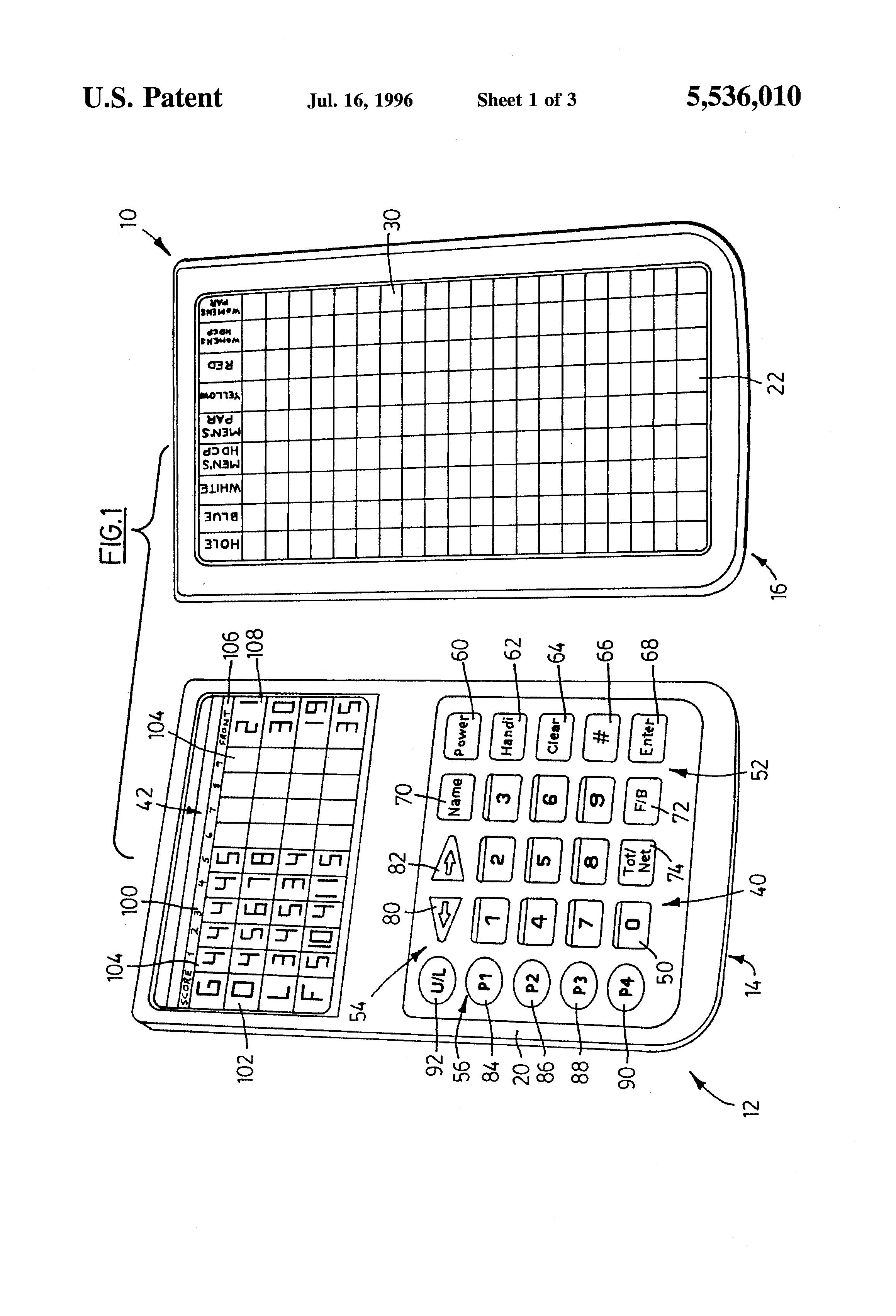patent us5536010 - electronic golf scorecard
