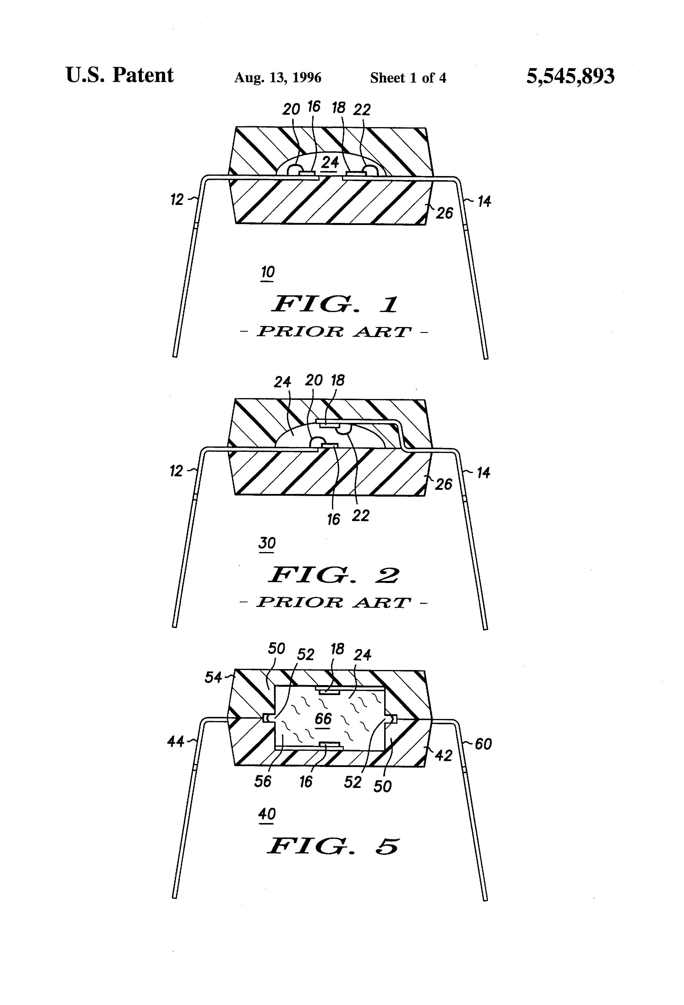 Brevet Us5545893 Optocoupler Package And Method For Making Optoisolator Volume Control Patent Drawing