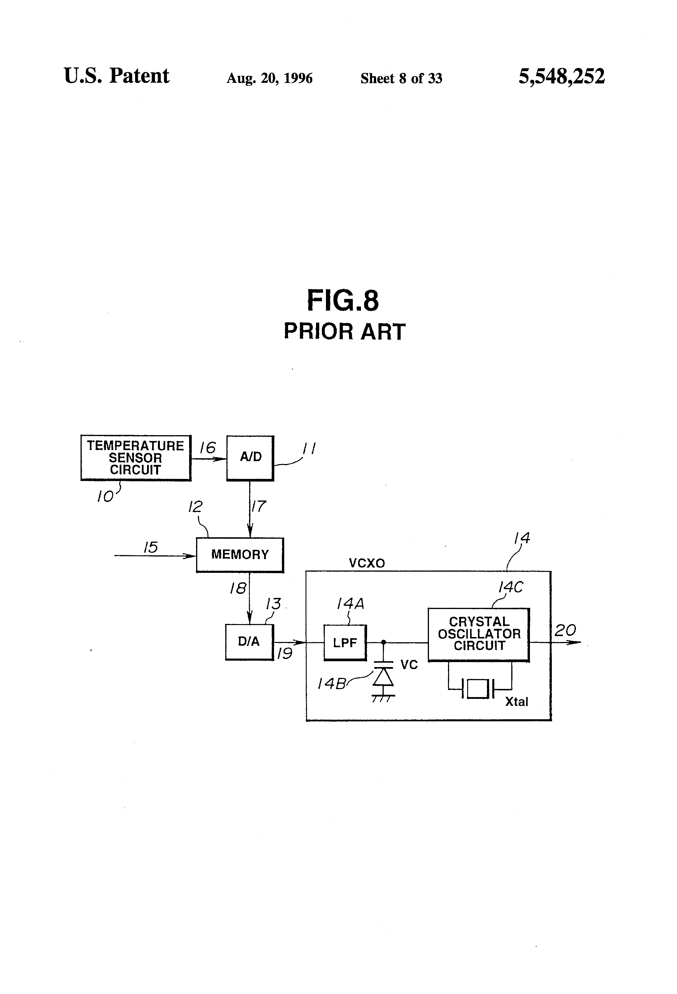 Patent Us5548252 Digital Temperature Compensated Crystal Hartley Oscillator Opamp Circuit Drawing