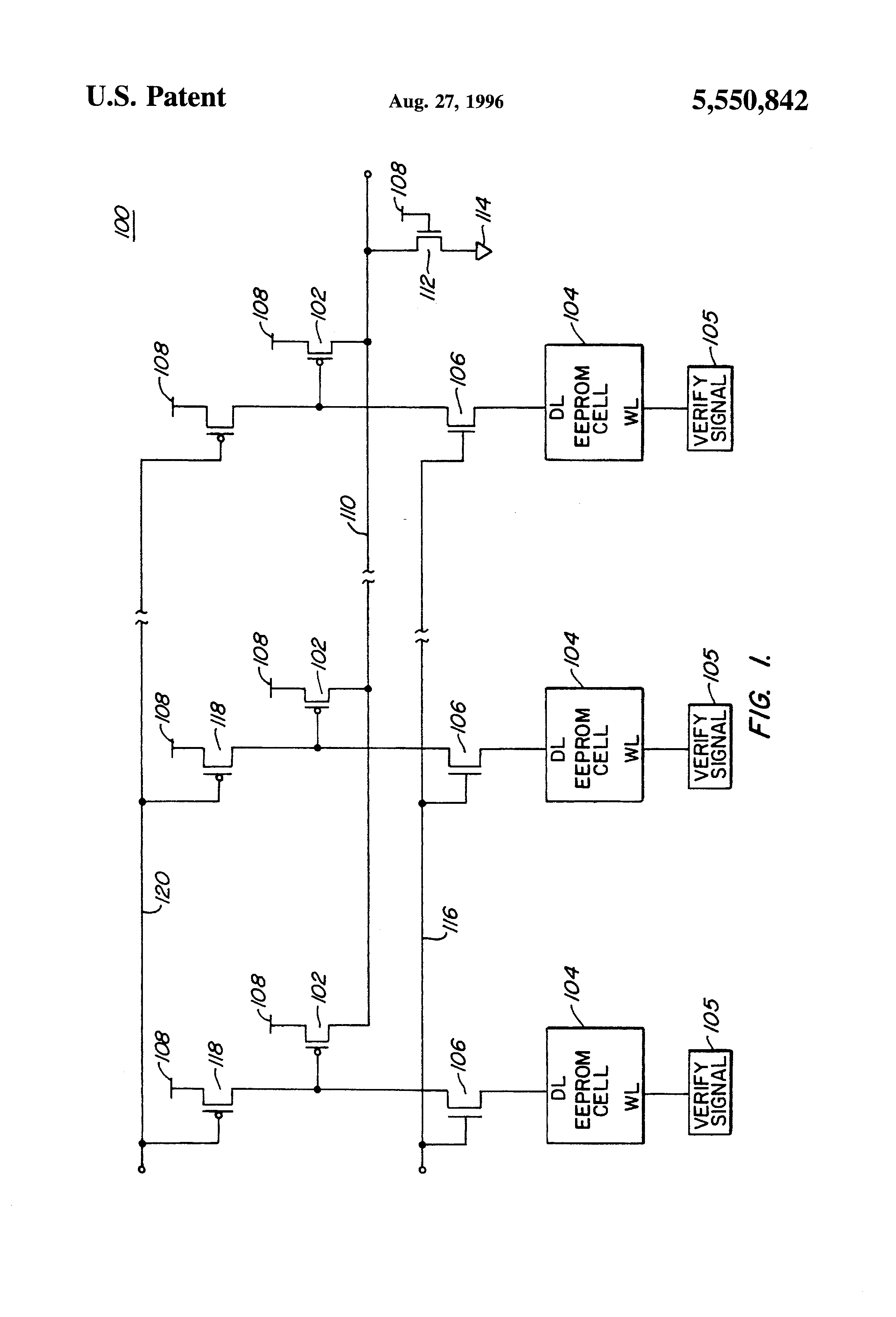Patent Us5550842 Eeprom Verification Circuit With Pmos Transistors Drawing