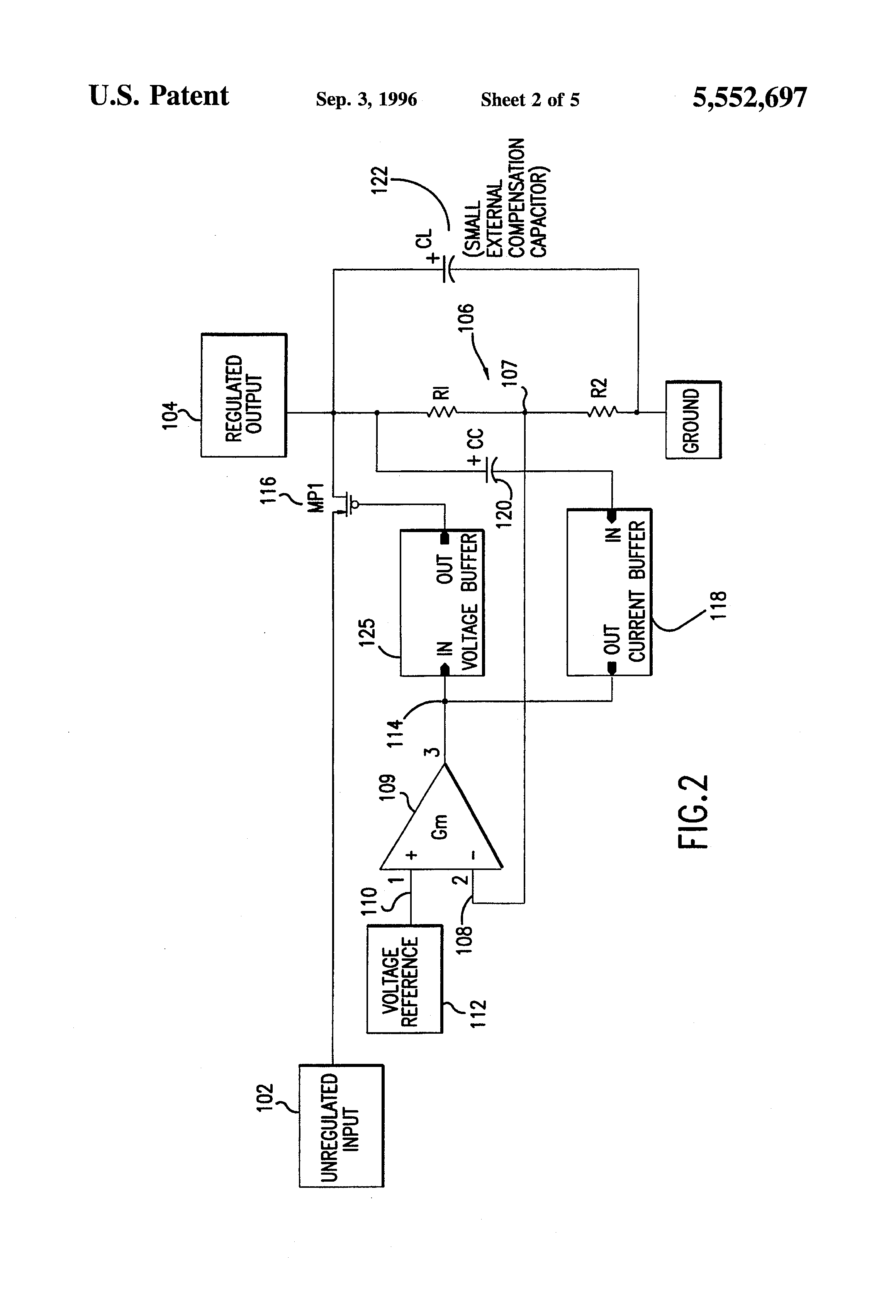 Patent Us5552697 Low Voltage Dropout Circuit With Compensating Controlled Source Nchan Mosfet Schematic Drawing