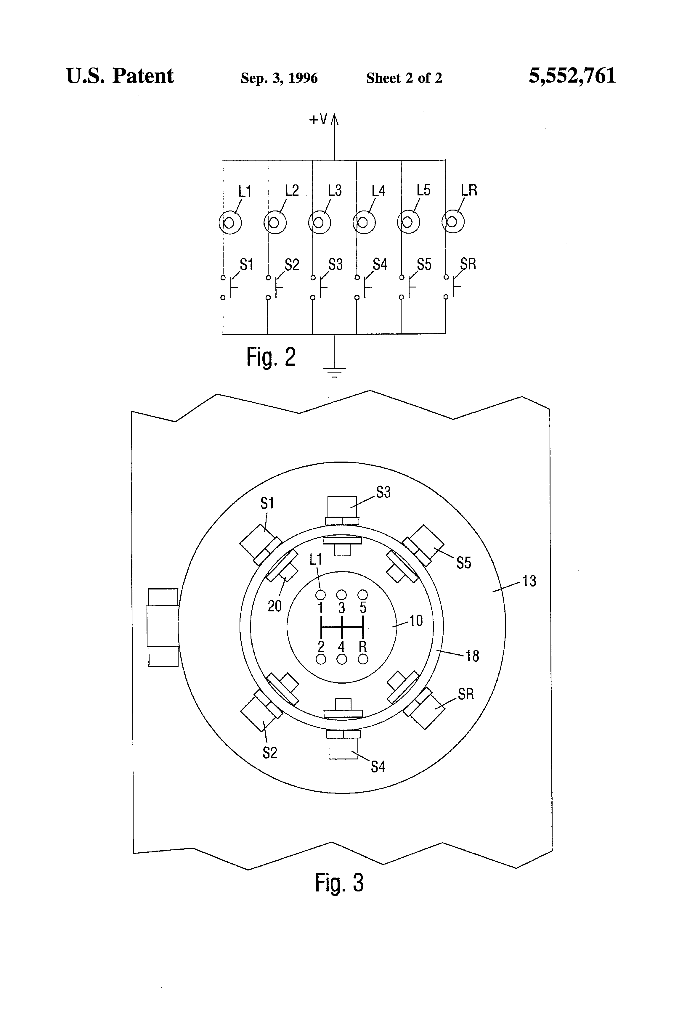 Patent Us5552761 Gear Selection Indicator For Manual Transmissions Gearbox Diagram Drawing