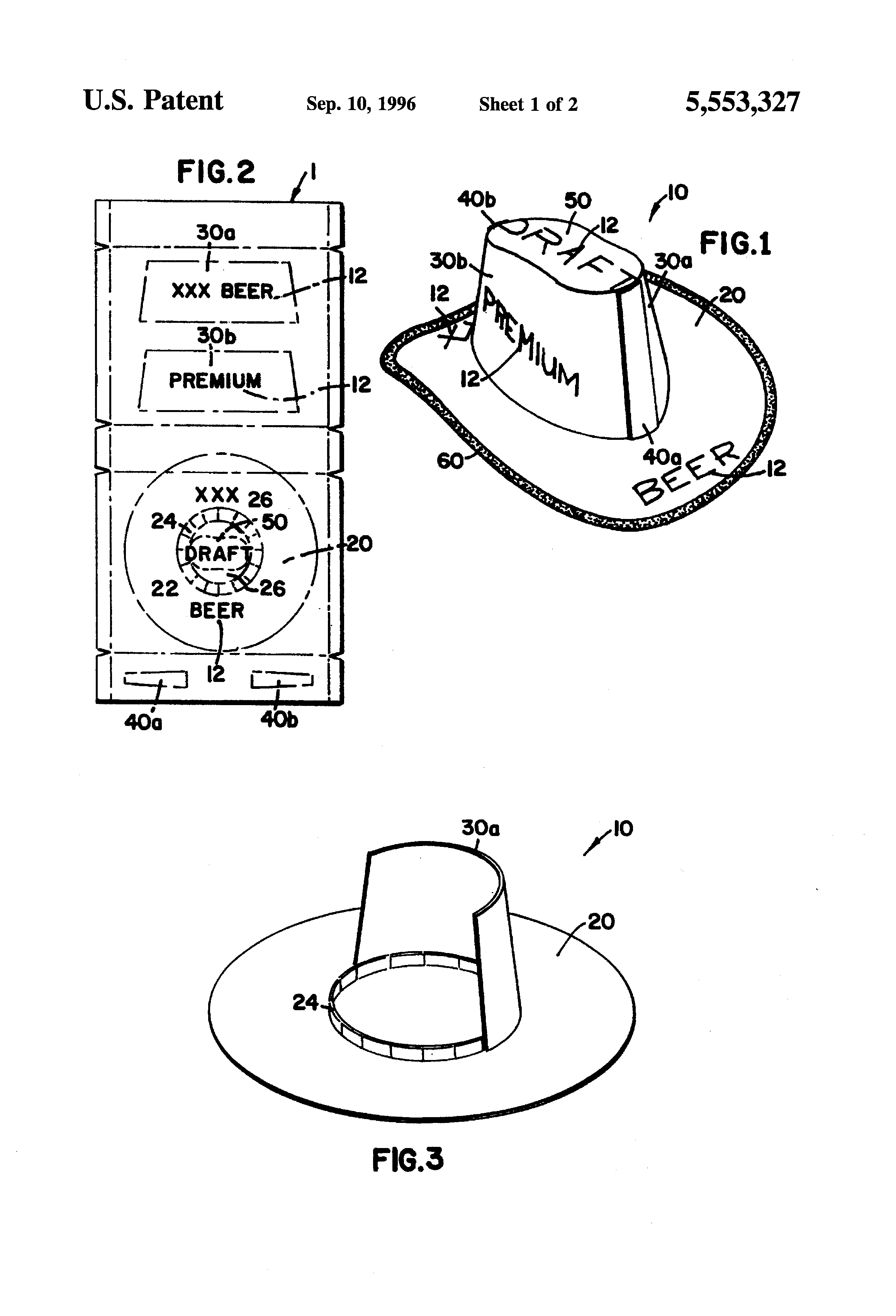 Patent Drawing  sc 1 st  Google & Patent US5553327 - Hat made from cardboard beverage container and ... Aboutintivar.Com
