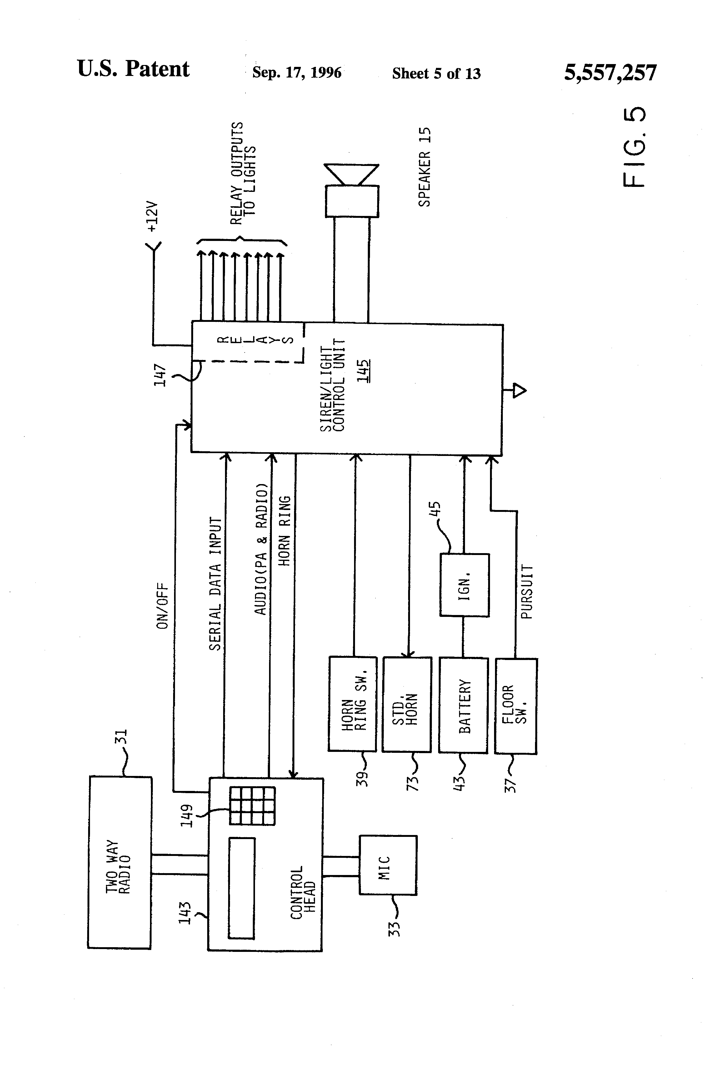 US5557257 5 wiring diagram for federal signal pa300 pa300 siren wiring harness whelen siren speaker wiring diagram at cos-gaming.co