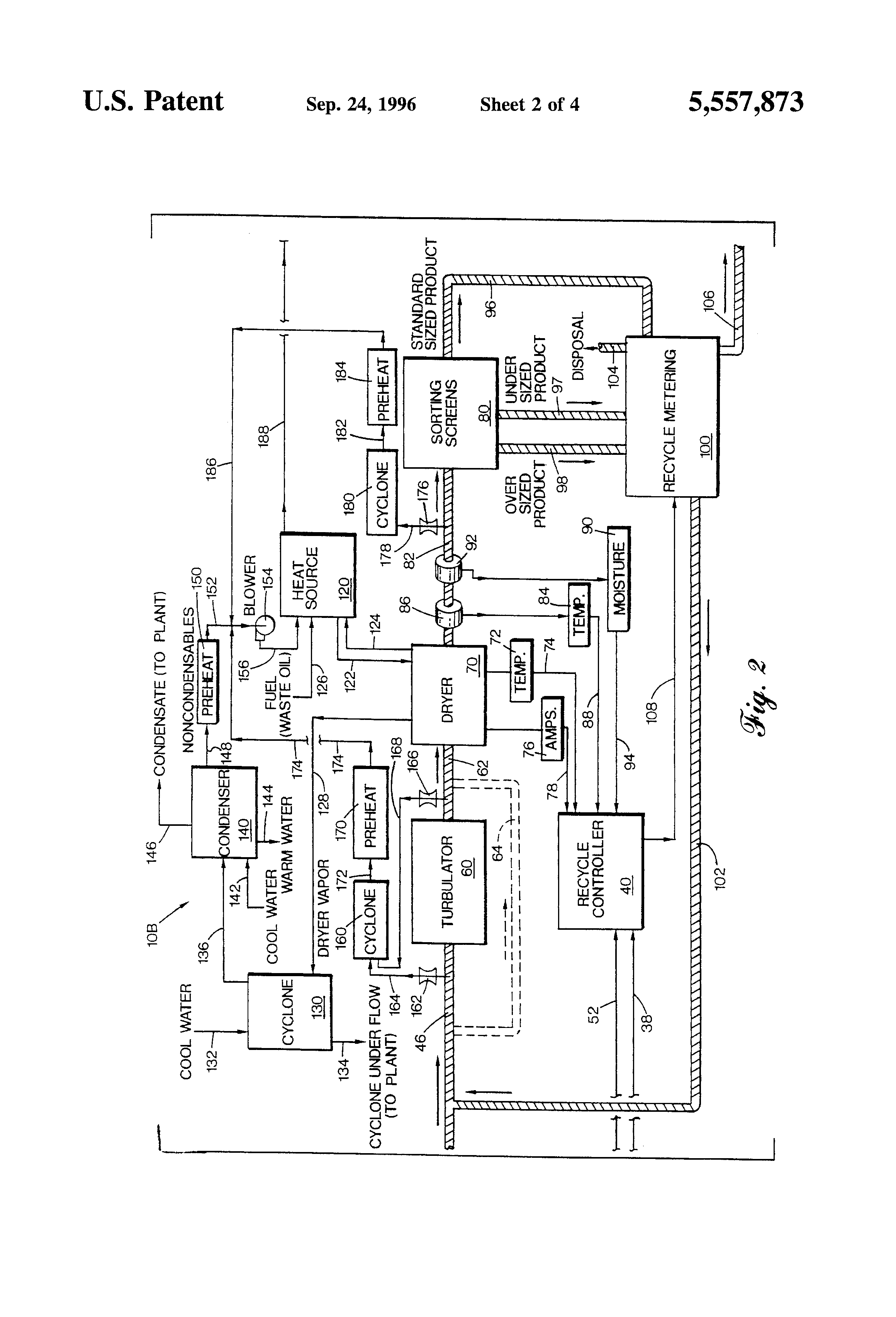 patent us5557873 method of treating sludge containing fibrous patent drawing