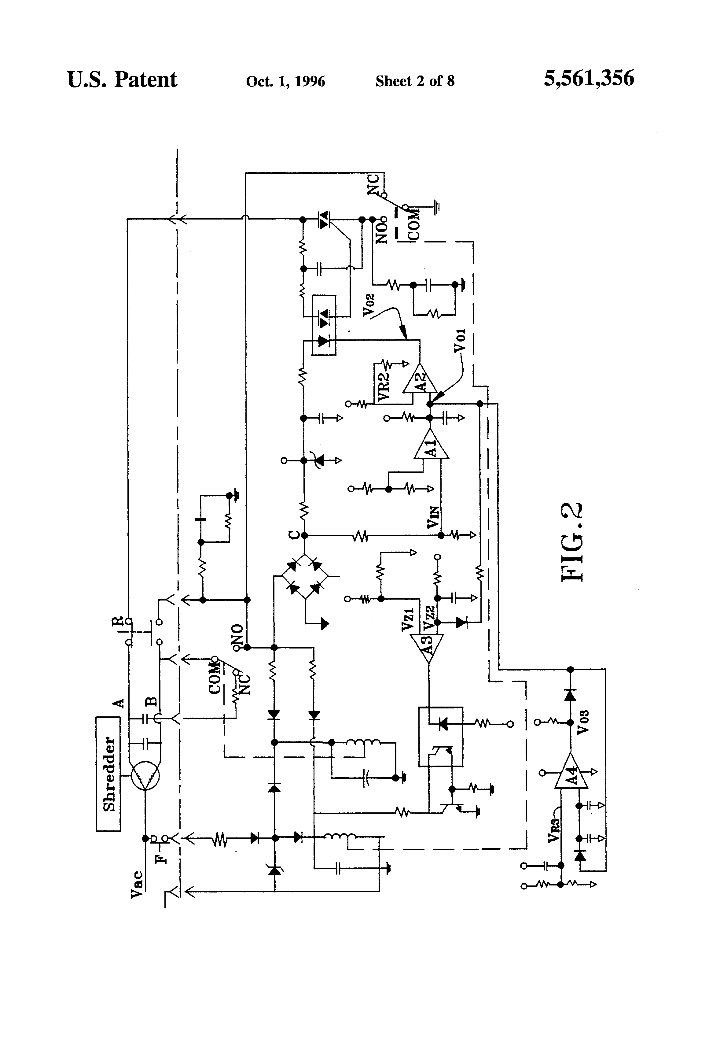 Patent Us5561356 Shredder Motor Circuit With Power