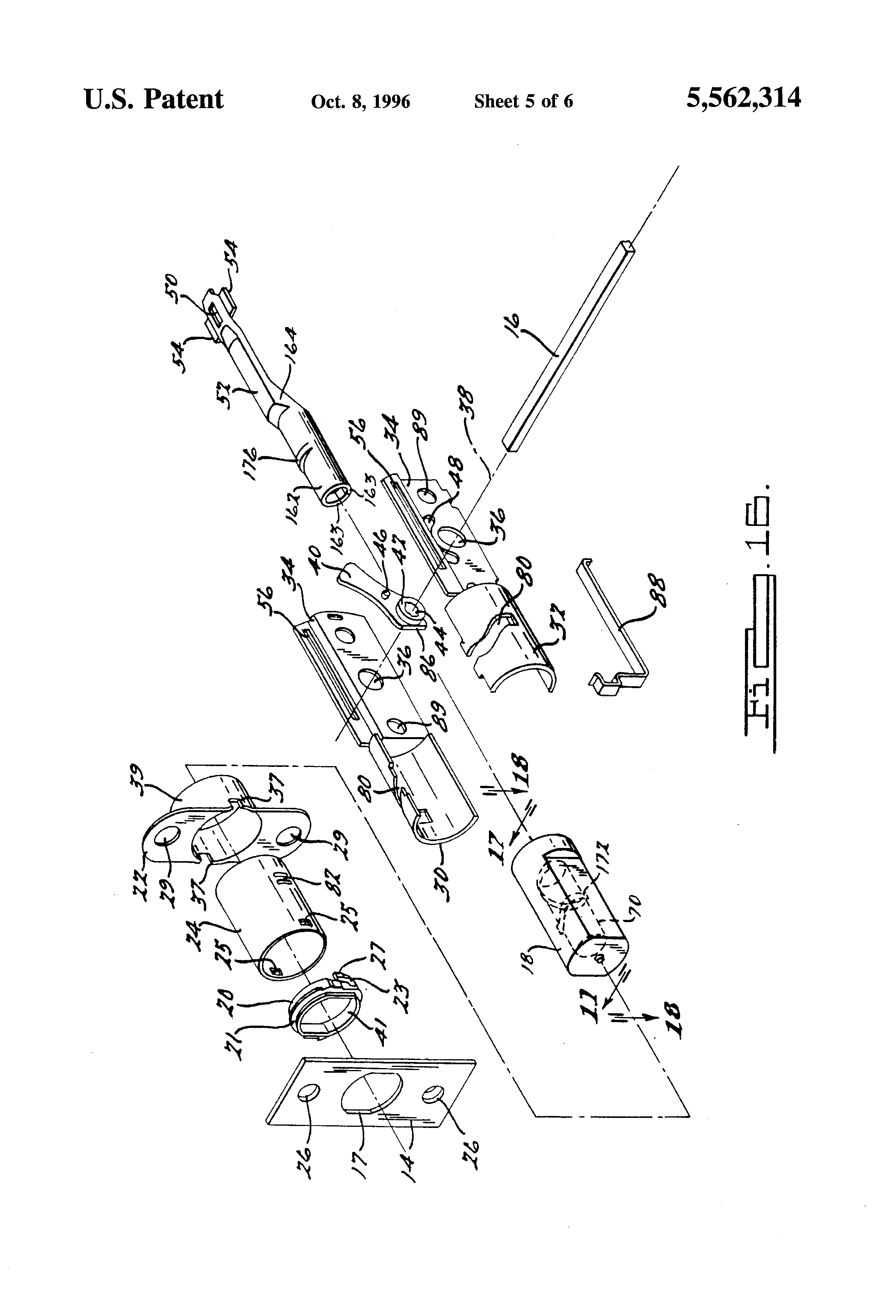Patent Us5562314 Door Latch Assembly With Backset
